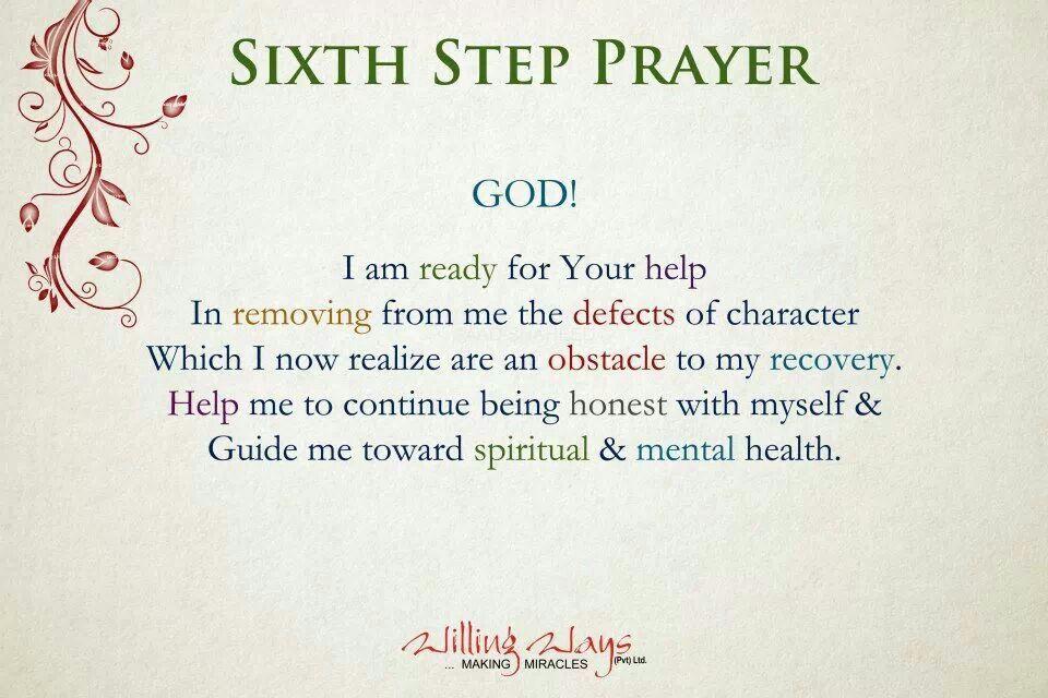 Sixth step prayer recovery pinterest