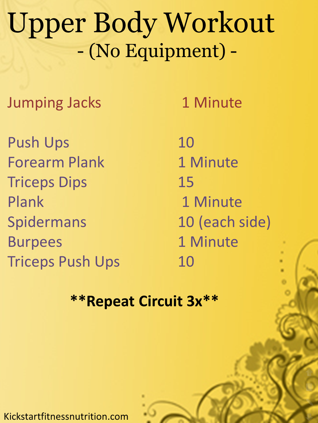 Fitness And Nutrition Upper Body Workout No Equipment