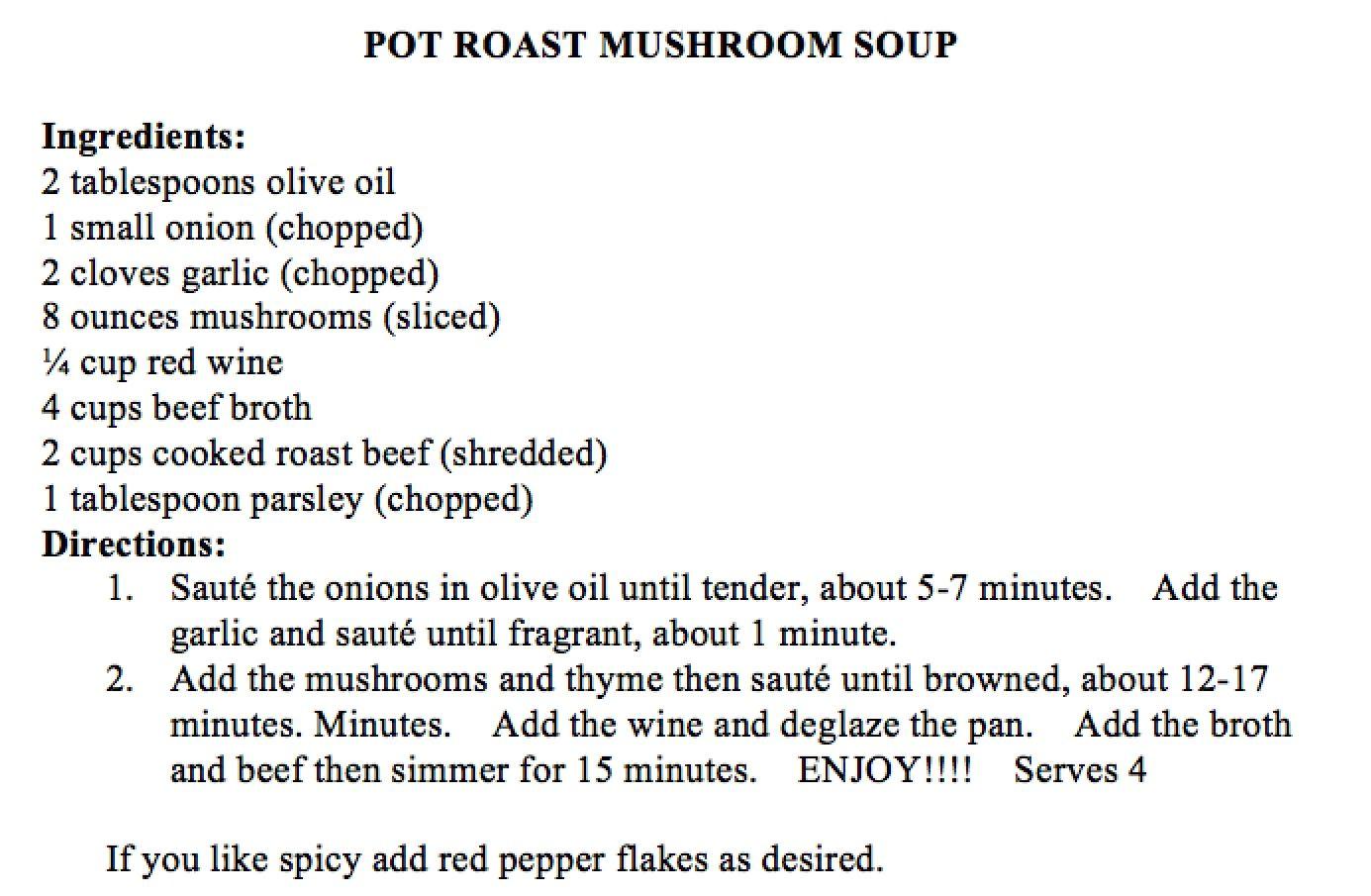 Pot Roast Mushroom Soup | Diet, Health & Fitness | Pinterest