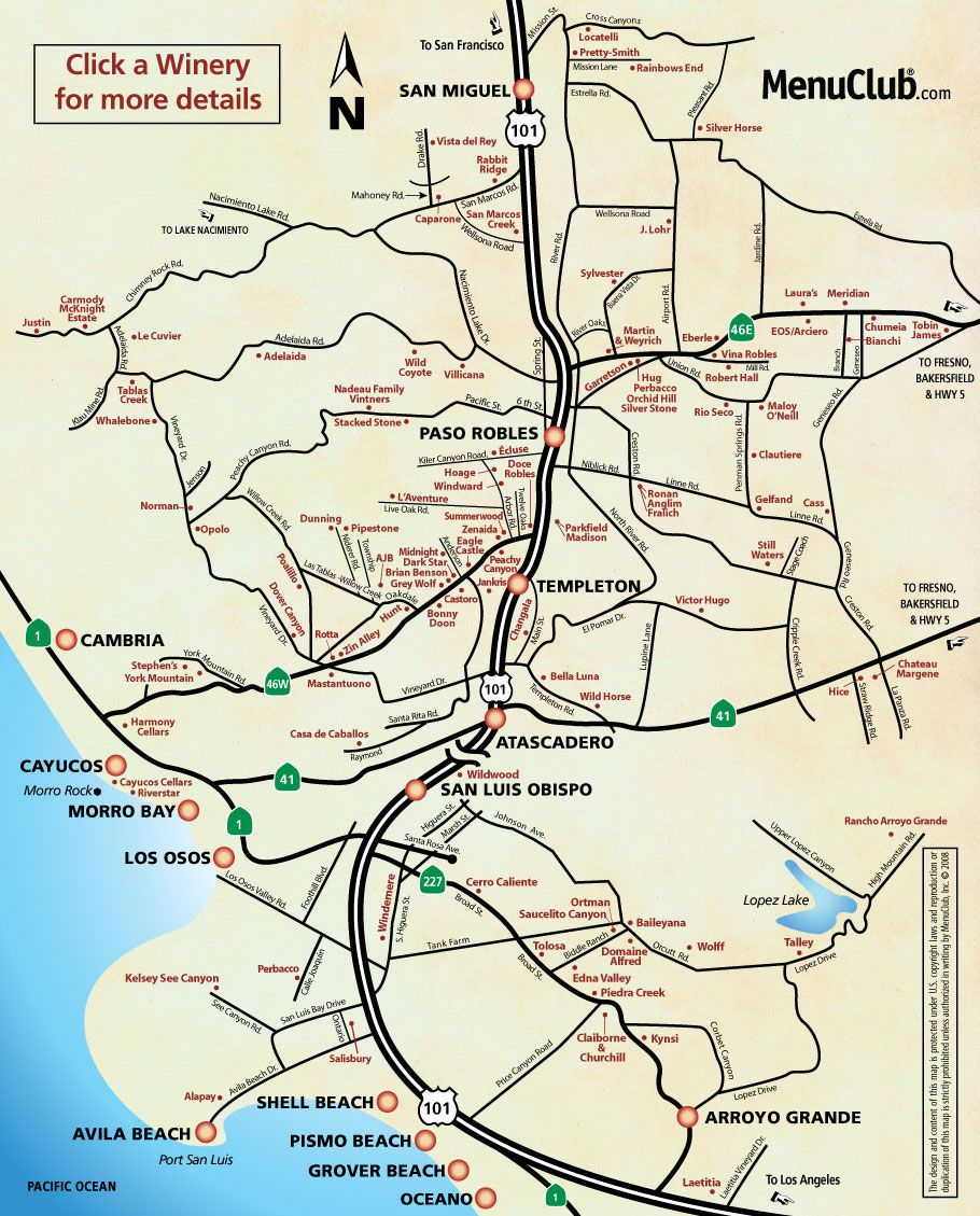 Image Detail For San Luis Obispo County Winery Map