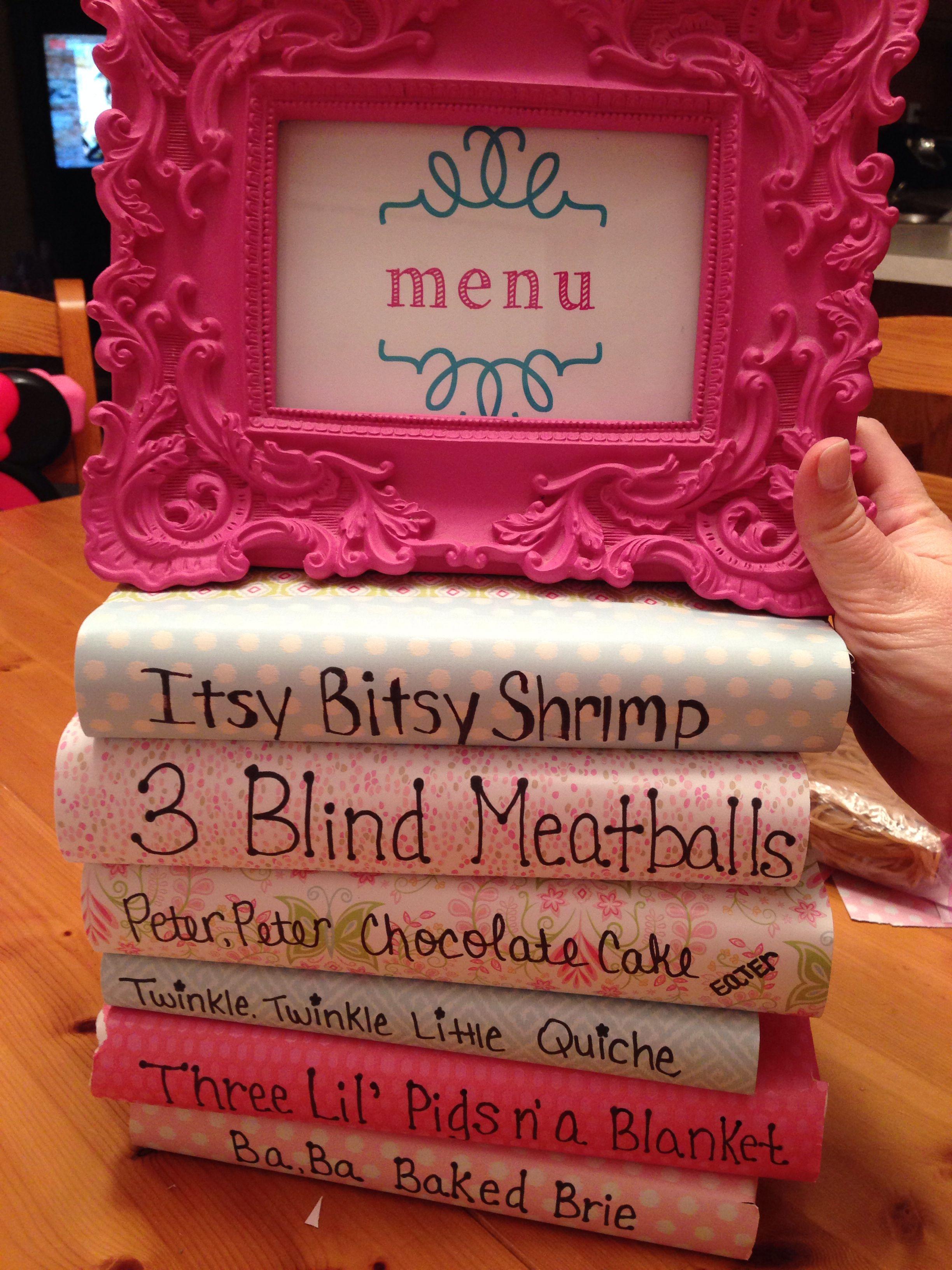 baby girl shower menu craft ideas pinterest