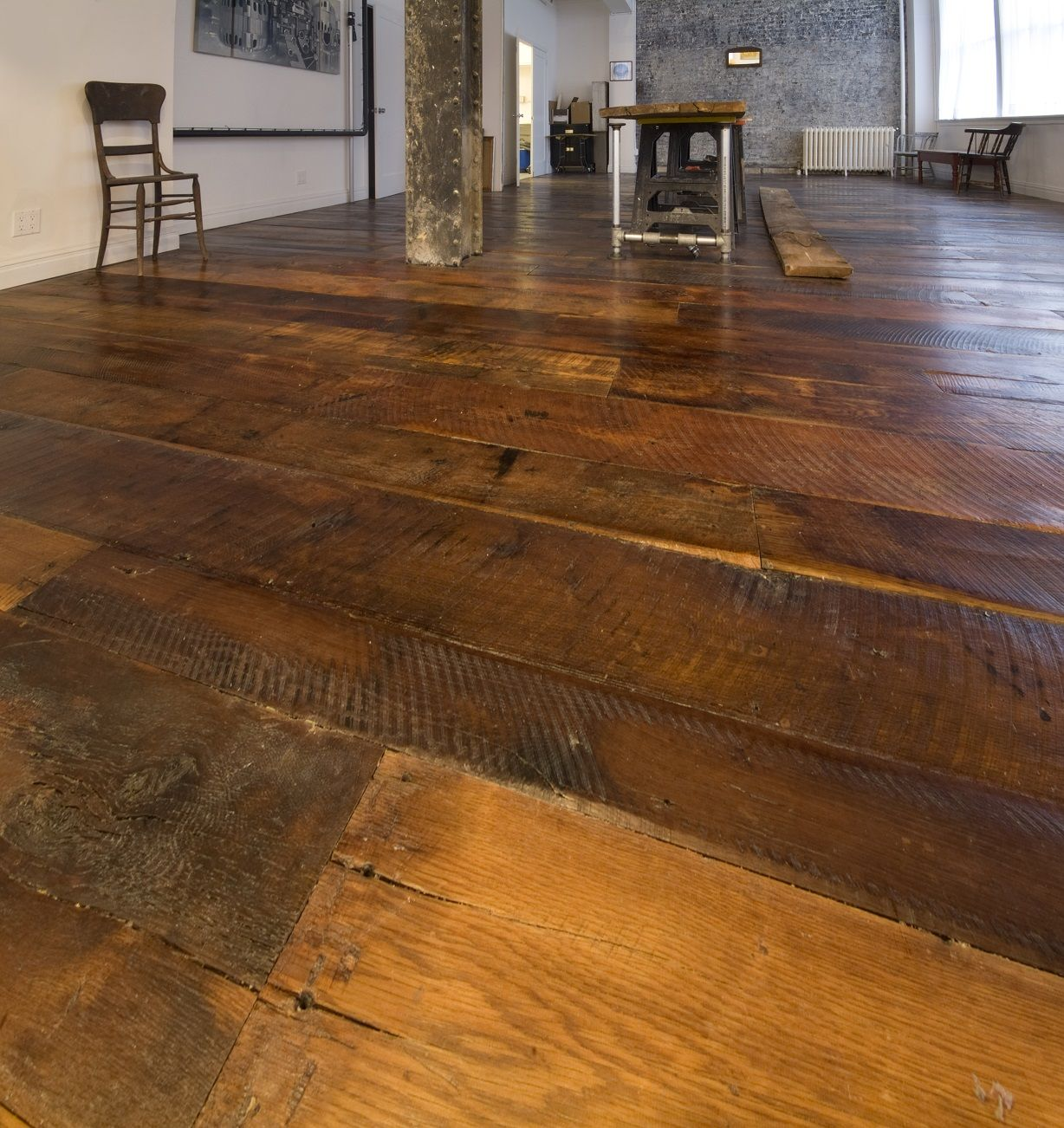 Pin by real antique wood on reclaimed flooring pinterest for Wide plank wood flooring