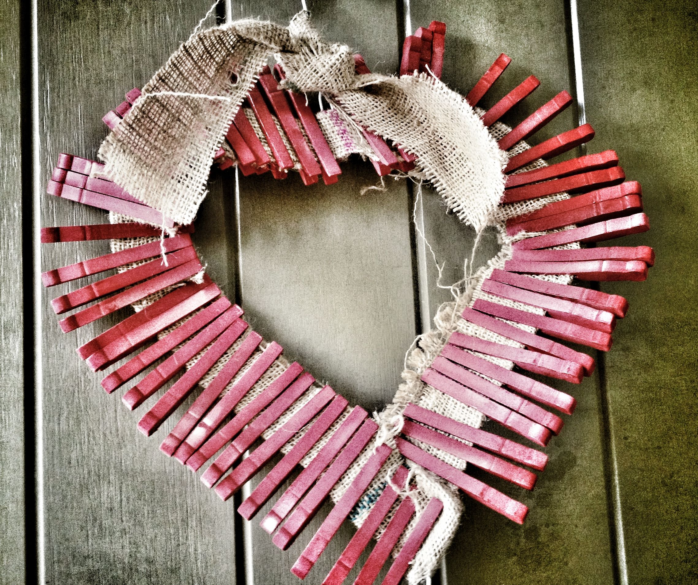 Valentine's Day wreath with clothes pins and burlap