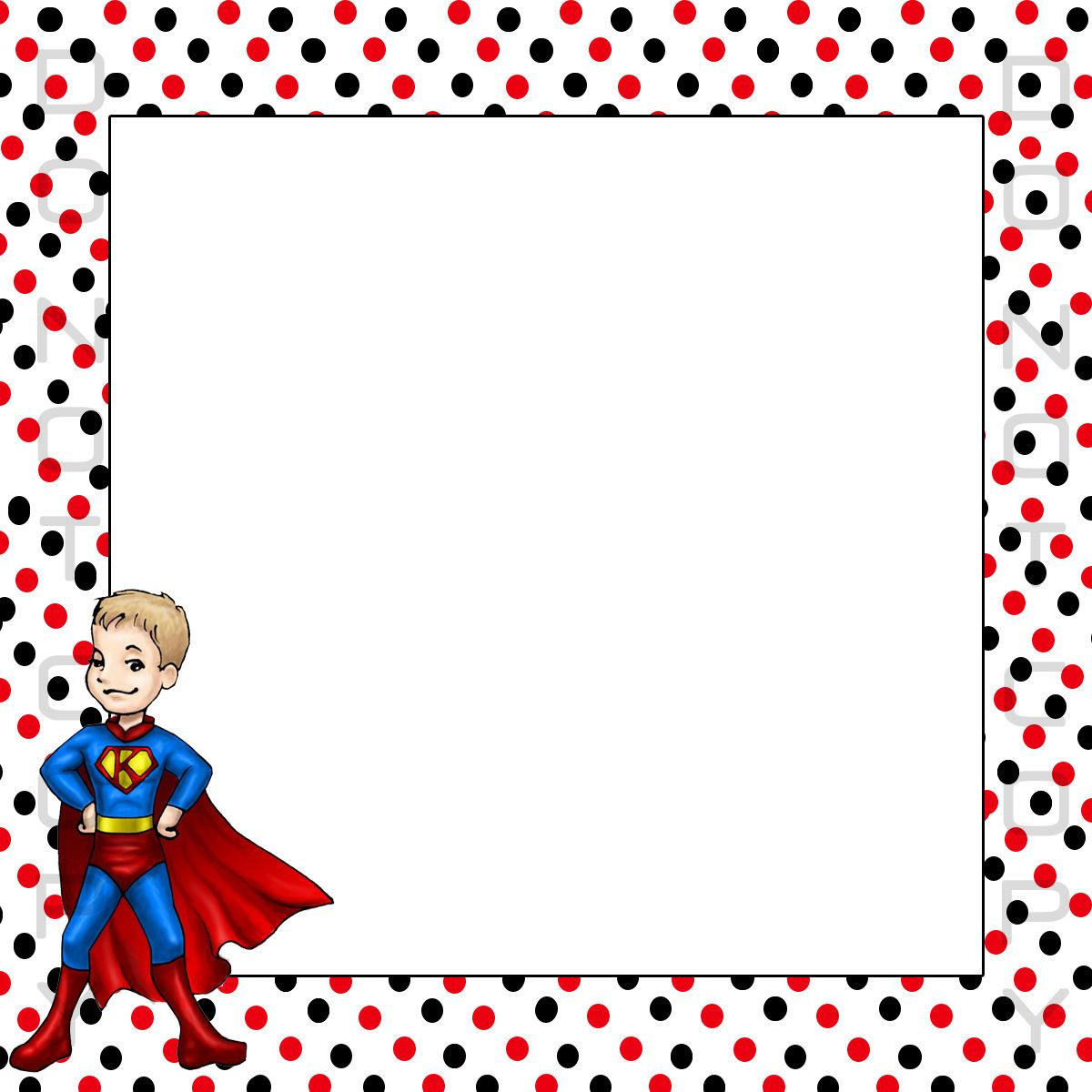 Sticker Frame easypeasy Superman Party Boys Birthday