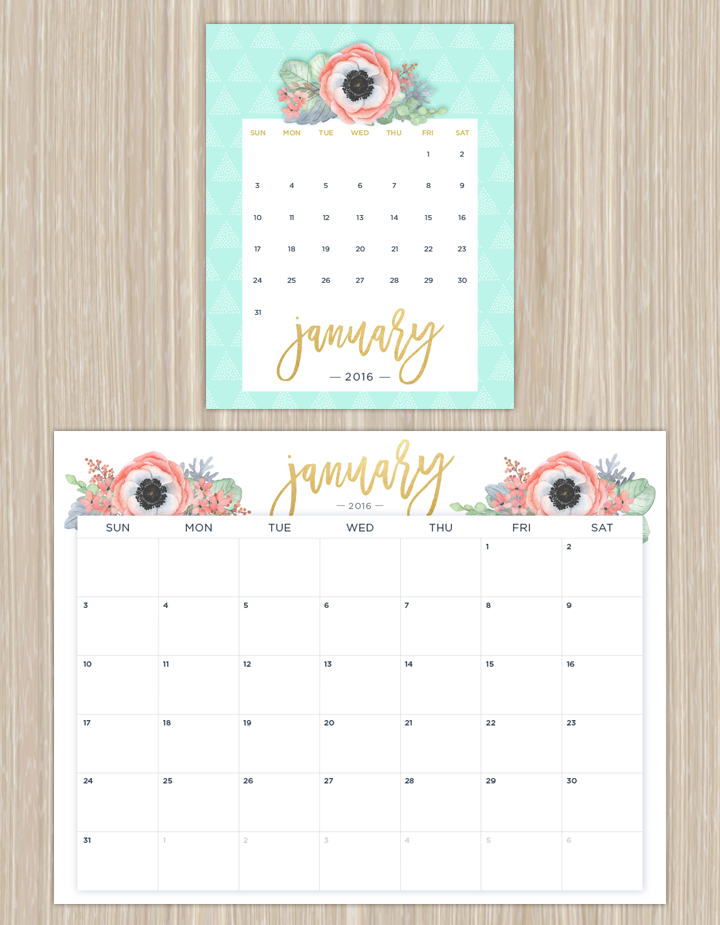 Printable Calendars for a More Floral 2018 | Printable calendars ...
