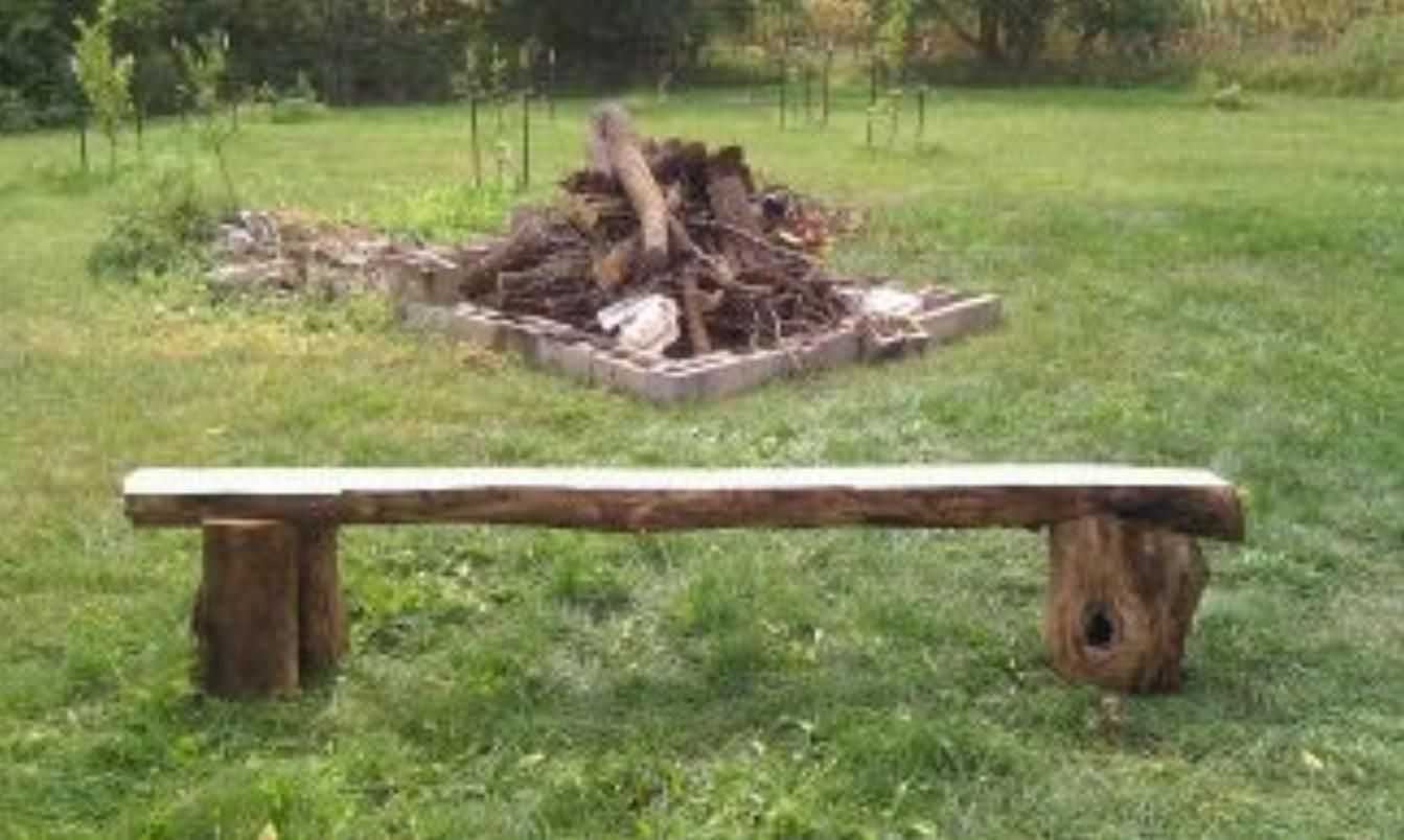 Homemade handmade bench by the fire pit crafts pinterest Fire pit benches