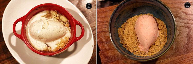 Crumble de manzana con helado de vainilla. Helado de fresa y wasabi - Yakitoro