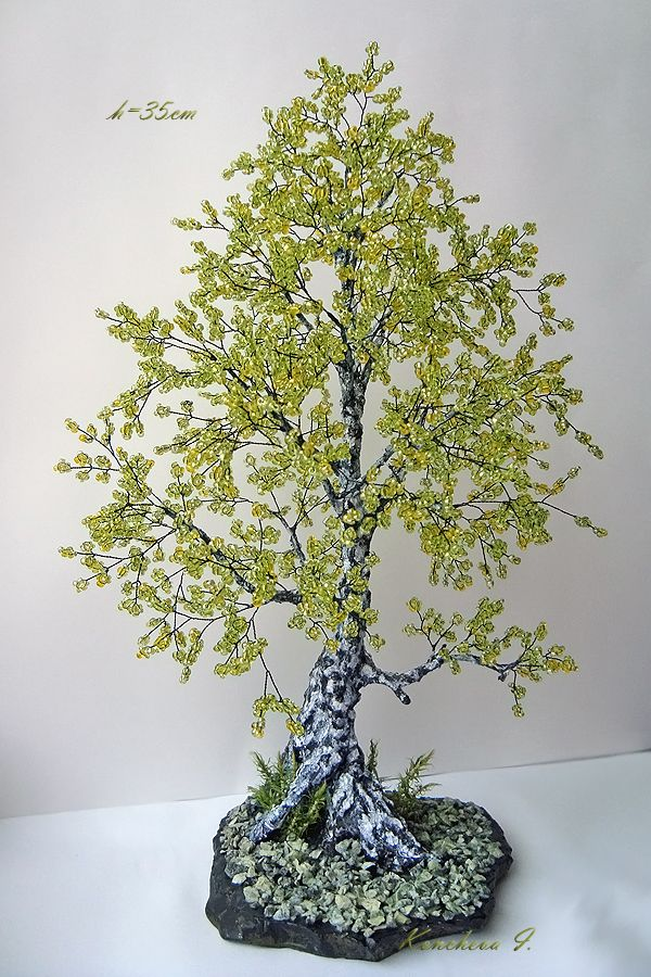 Деревья из бисера береза мастер класс с пошаговым фото