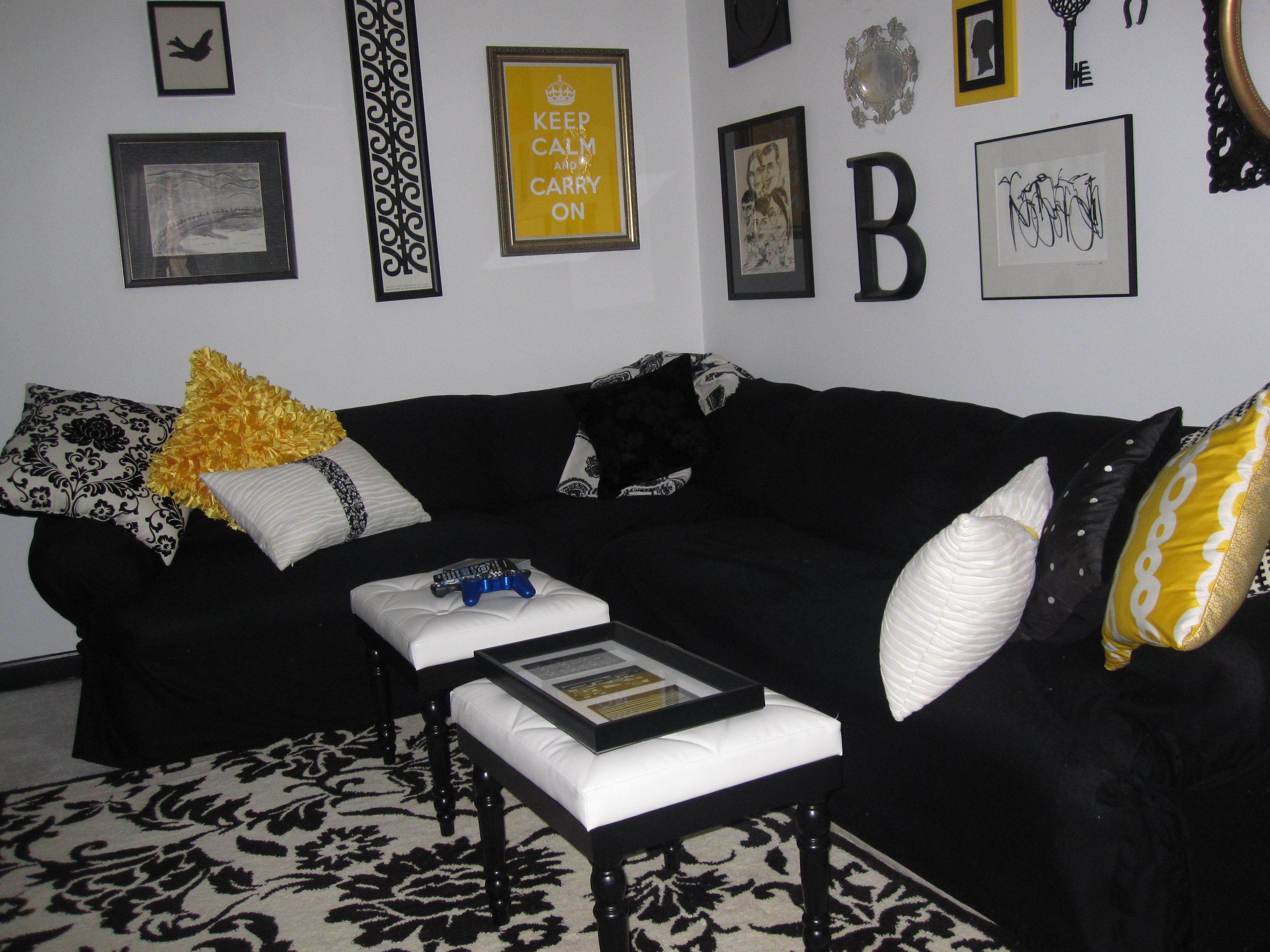 Black white yellow living room nesting happiness pinterest - Black and yellow living room ...