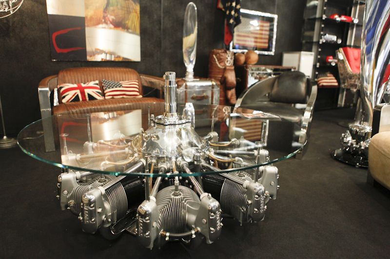 Radial engine coffee table cool man cave ideas wish for Man cave coffee table ideas