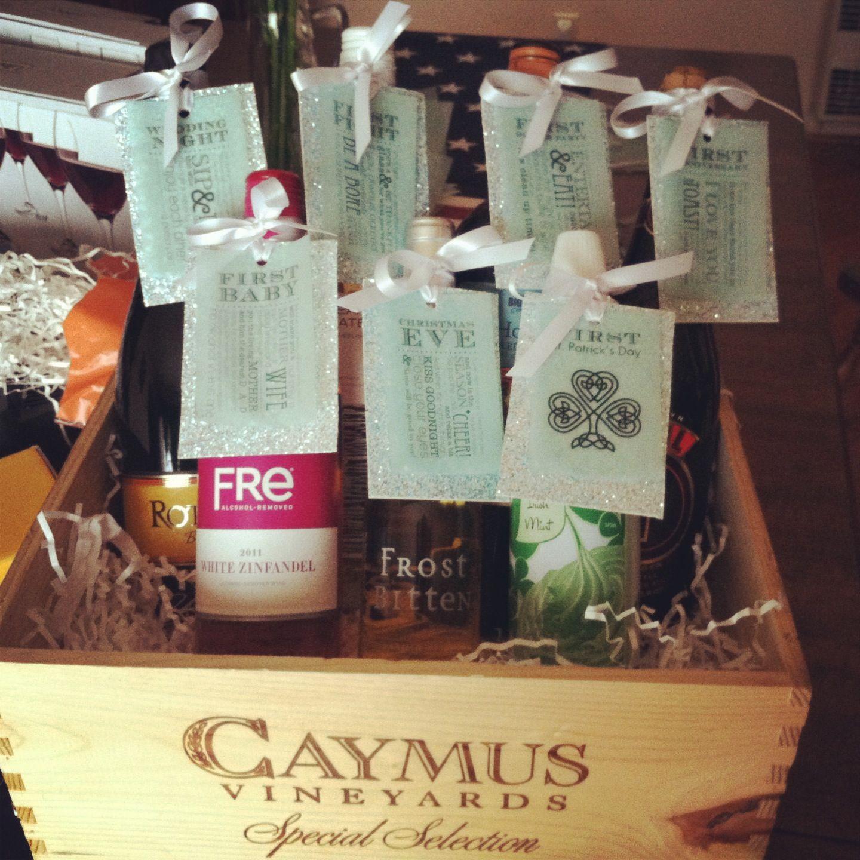 Wedding Gift Baskets With Wine : Wine basket wedding shower gift Gifts Pinterest