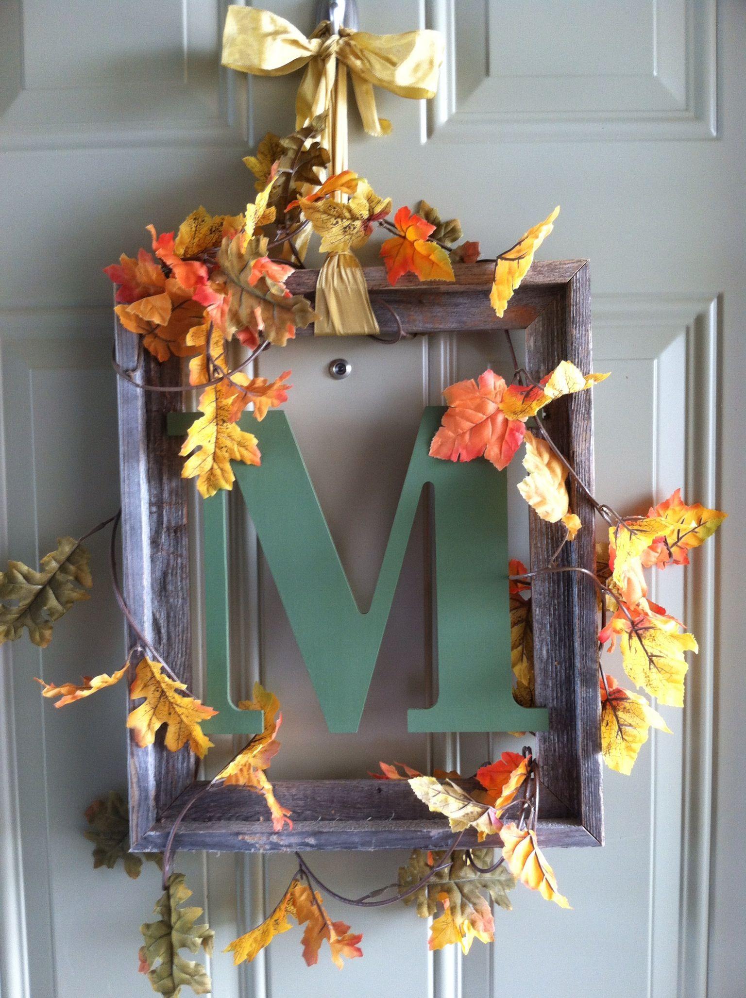 diy fall door decoration diy crafts sewing etc. Black Bedroom Furniture Sets. Home Design Ideas