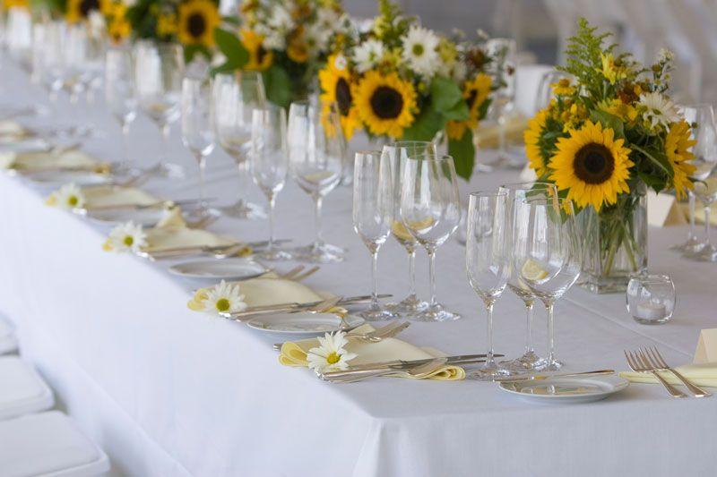 Simple Sunflower Wedding Table Arrangement Sunflower