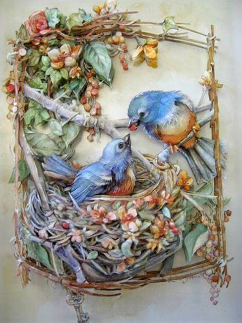 Птицы своими руками декупаж