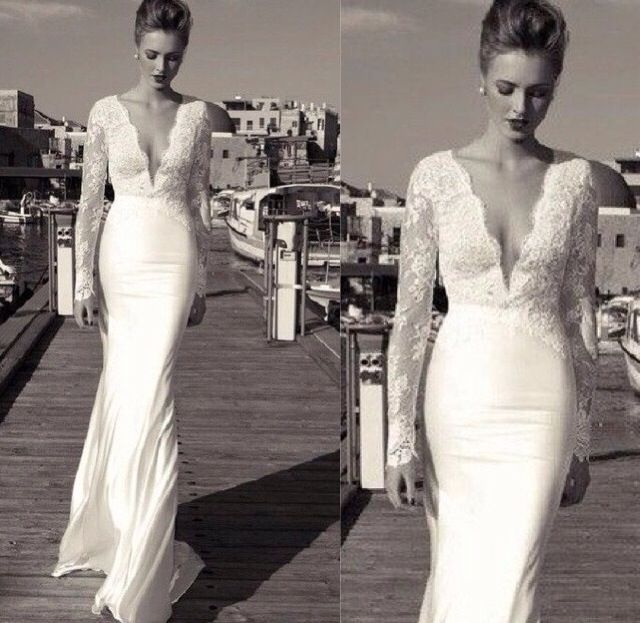 Tight Long Sleeved Lace Wedding Dress