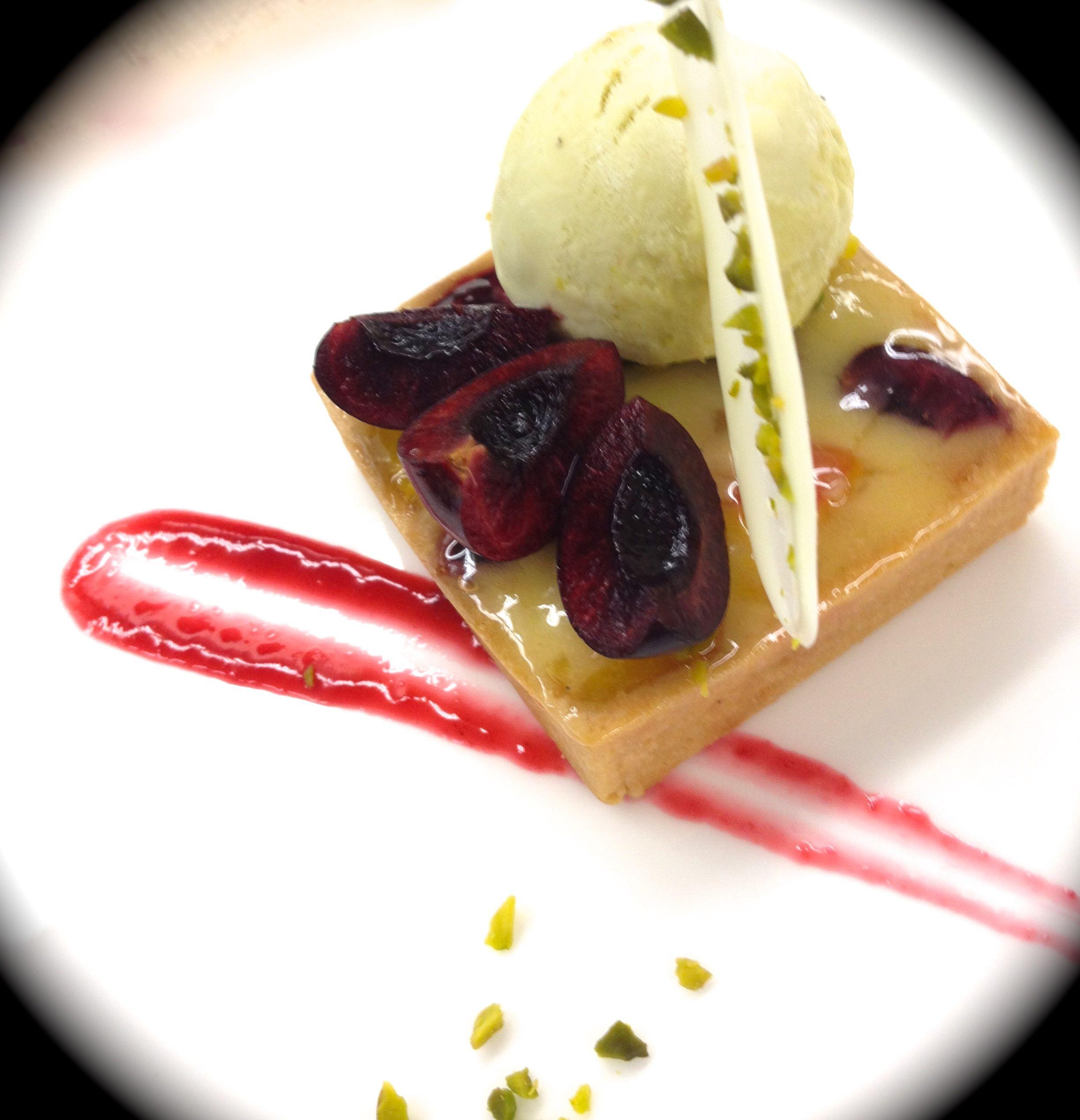 Bing Cherry Tart & Pistachio Ice Cream | Food Art | Pinterest