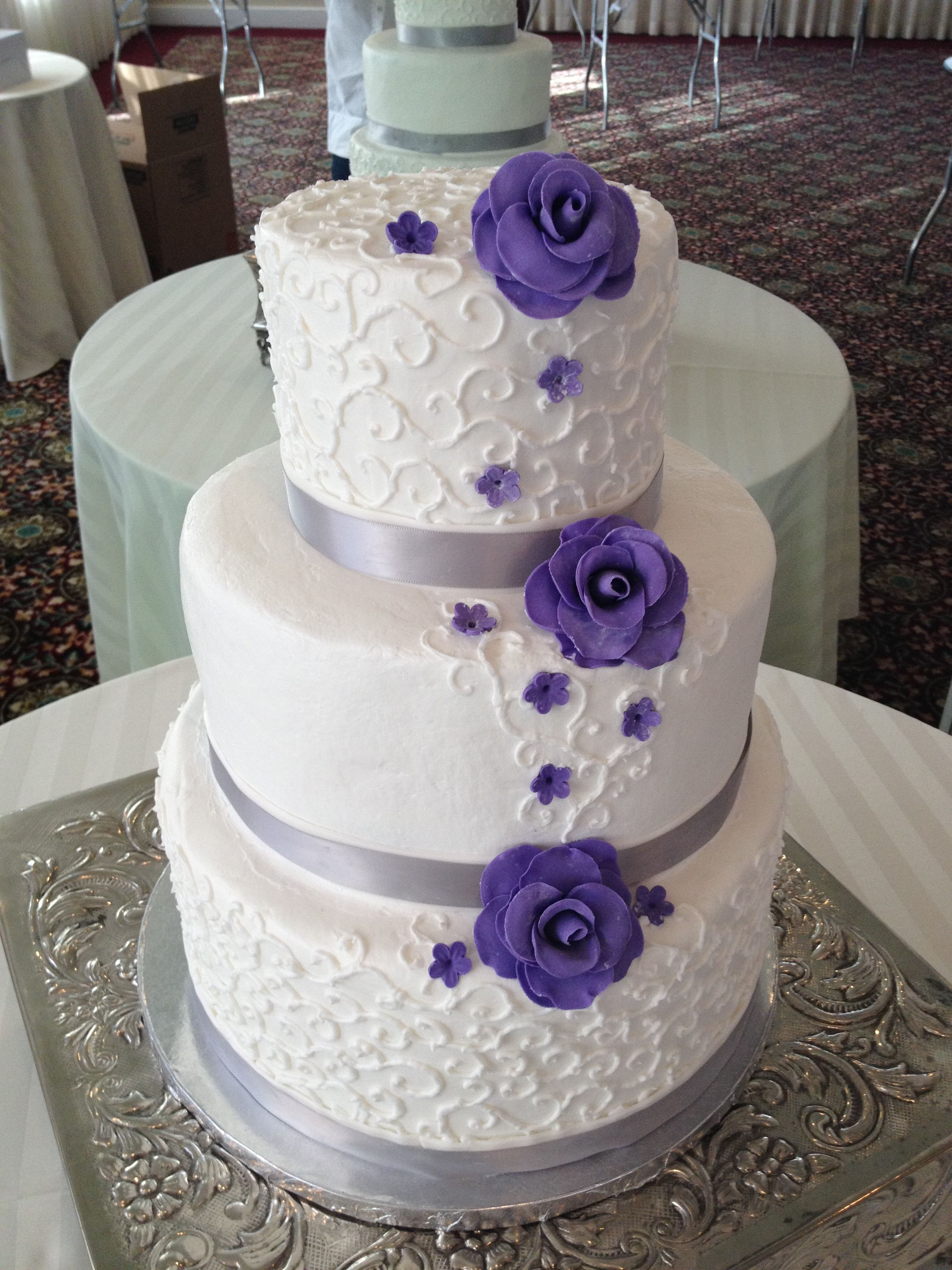 White Purple Silver Wedding Cake Sweet Escapes