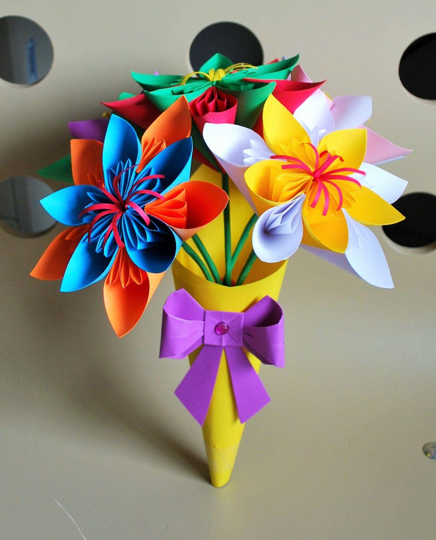 Сделать букет цветов из оригами