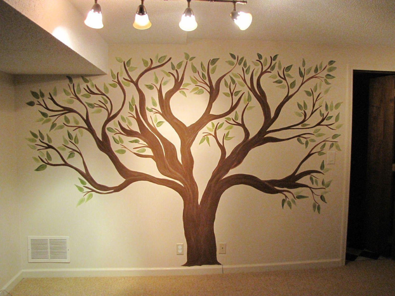 Рисунки деревьев на стене в квартире своими руками 47