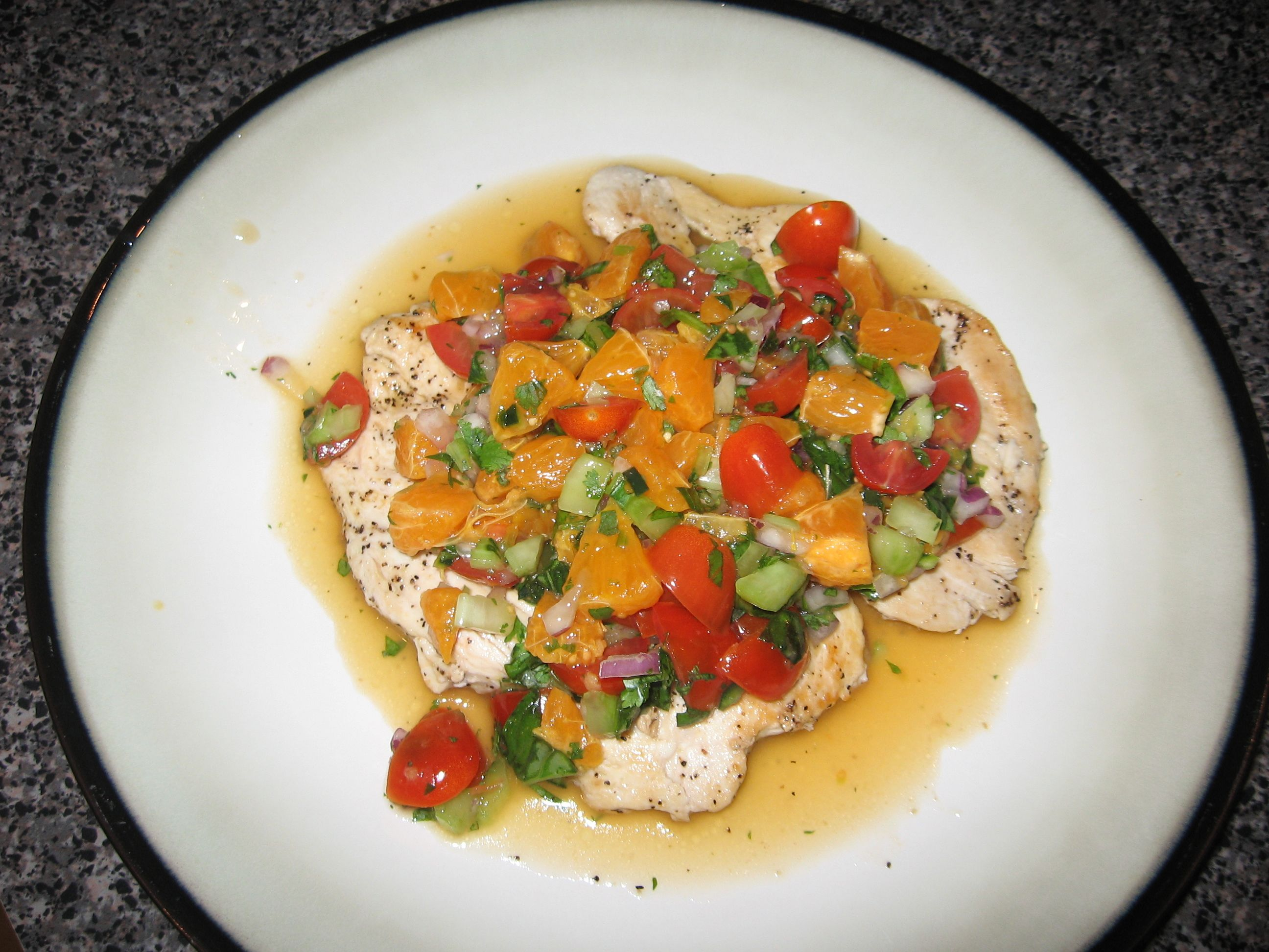 ... meringue cake with rosemary chicken paillards with clementine salsa