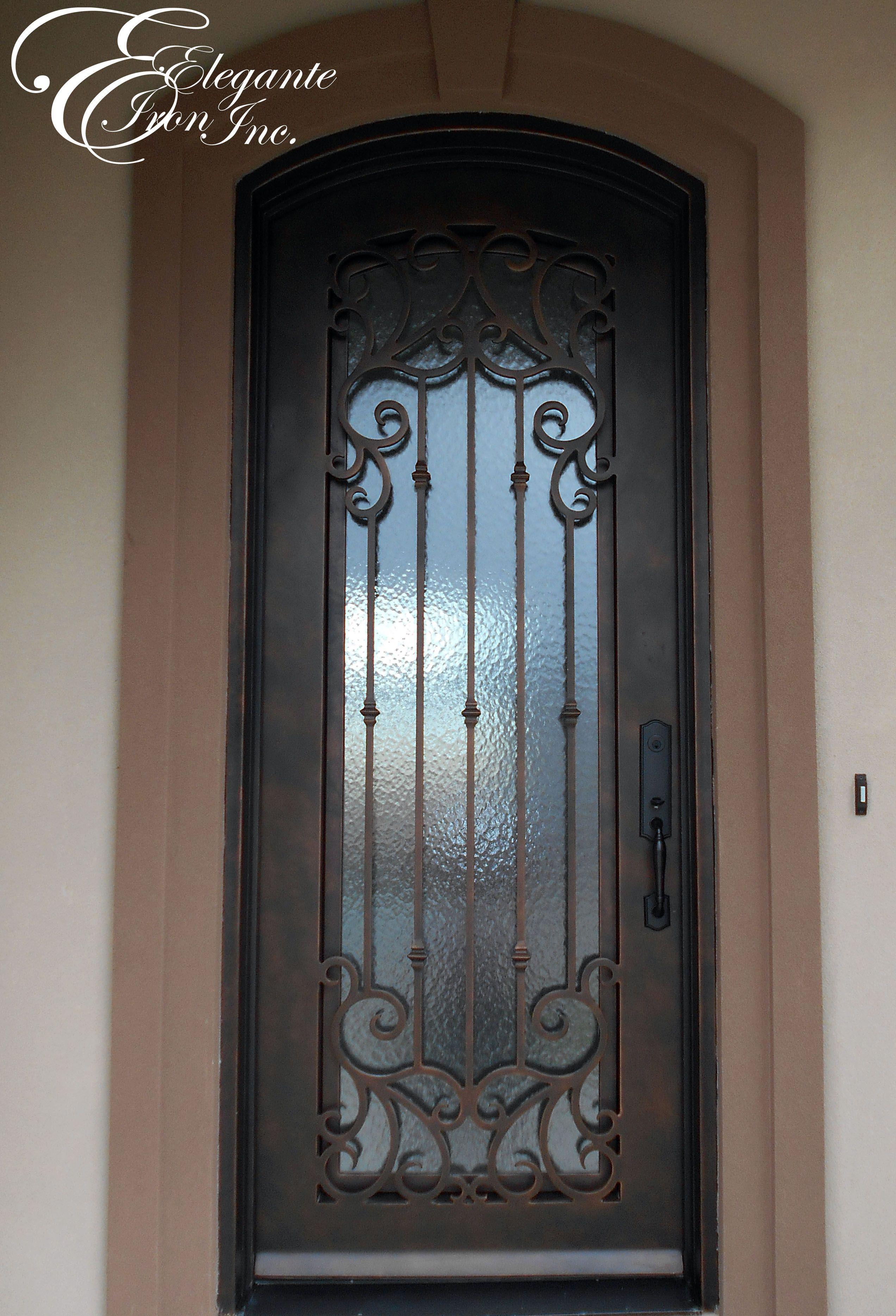 3736 #486E83 Custom Wrought Iron Front Door. Single Doors Pinterest picture/photo Rod Iron Front Doors 43092544