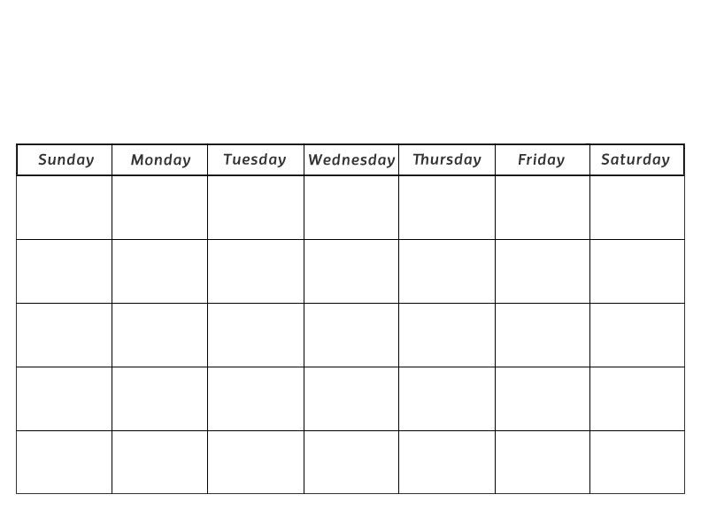 Blank Calendar Printout – Printable Editable Blank Calendar 2017