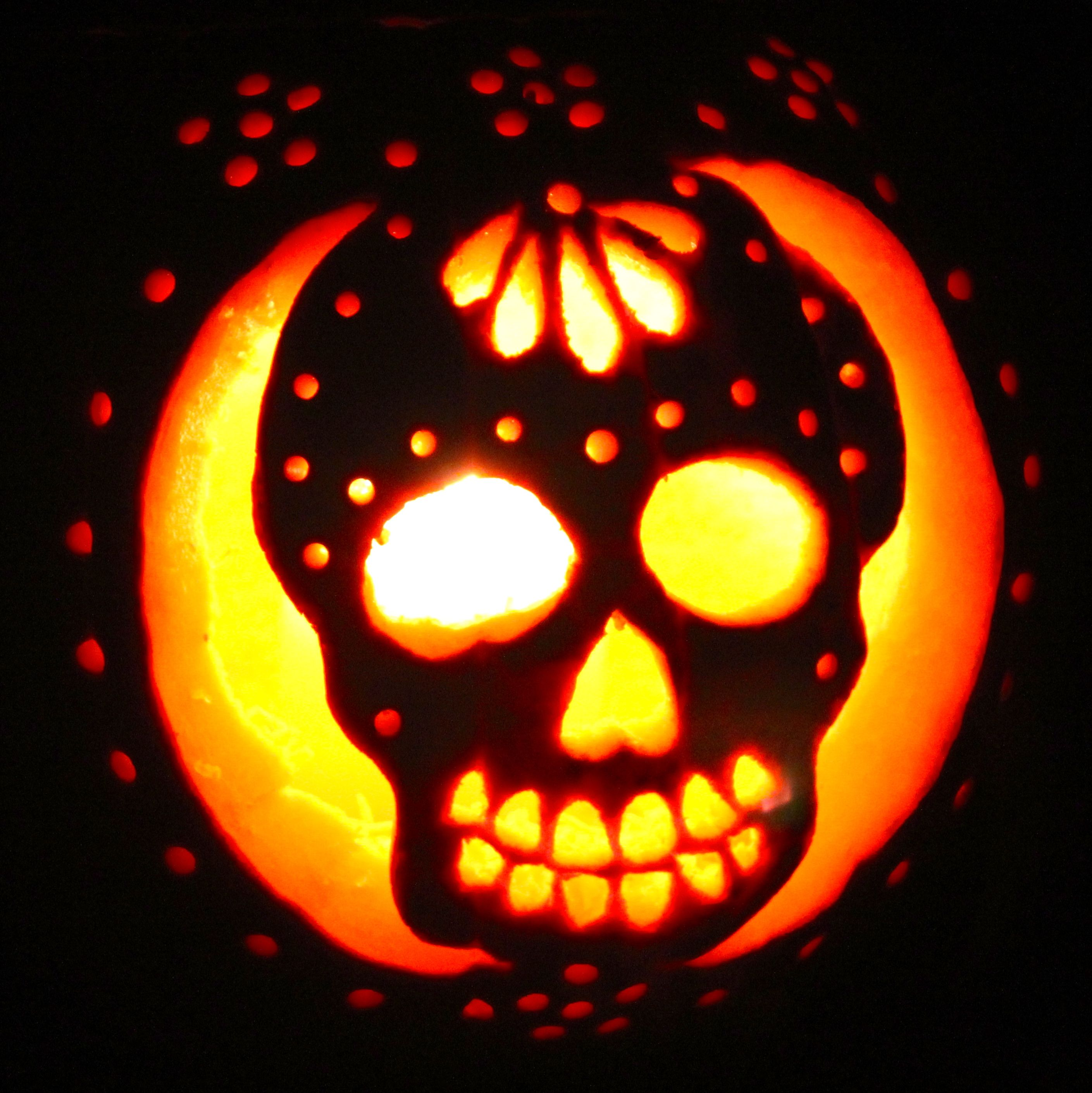 Sugar skull pumpkin carving patterns for Skeleton pumpkin pattern