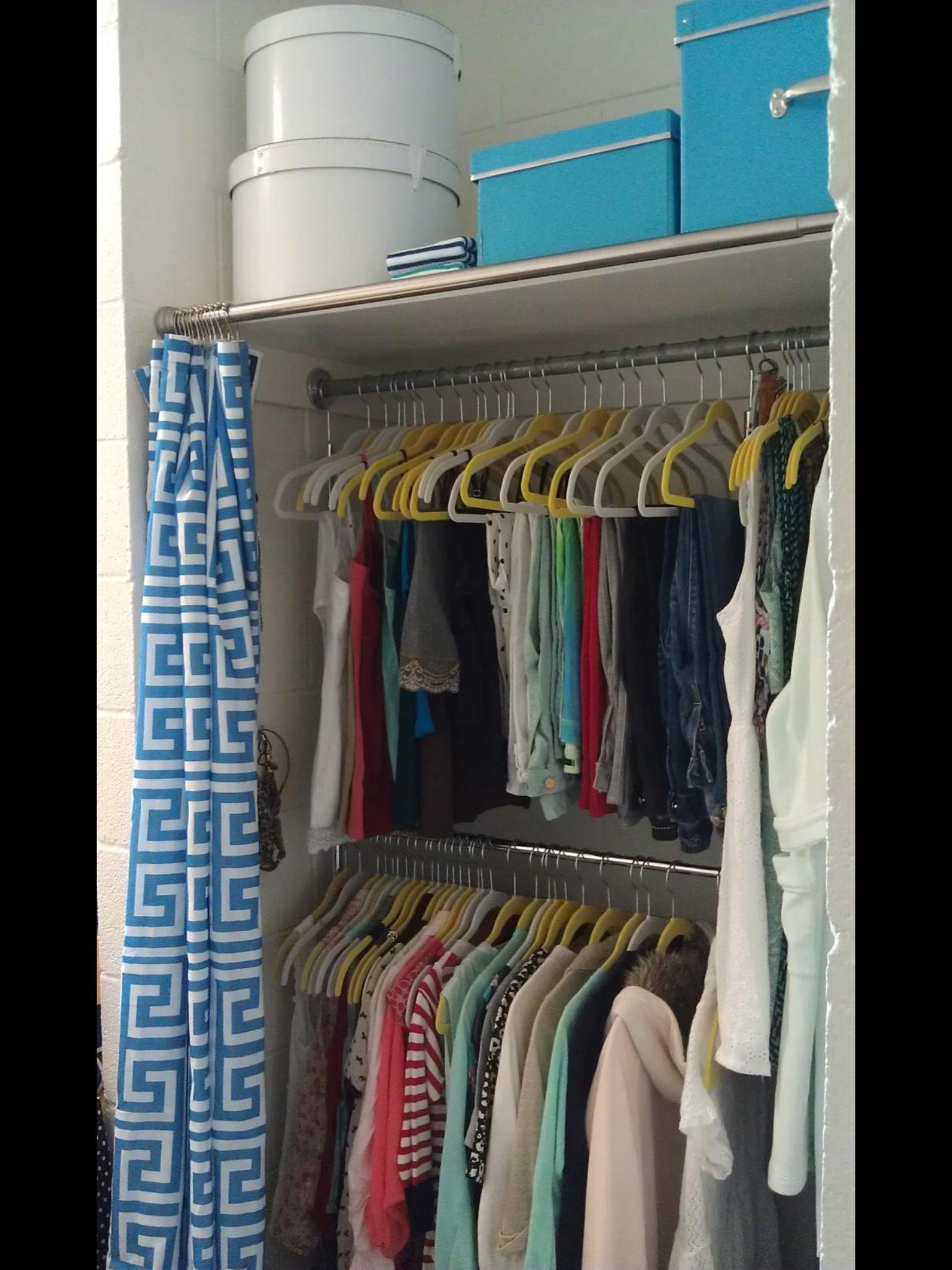 Dorm Closet Small But Lots Can Fit Dorm Decoration