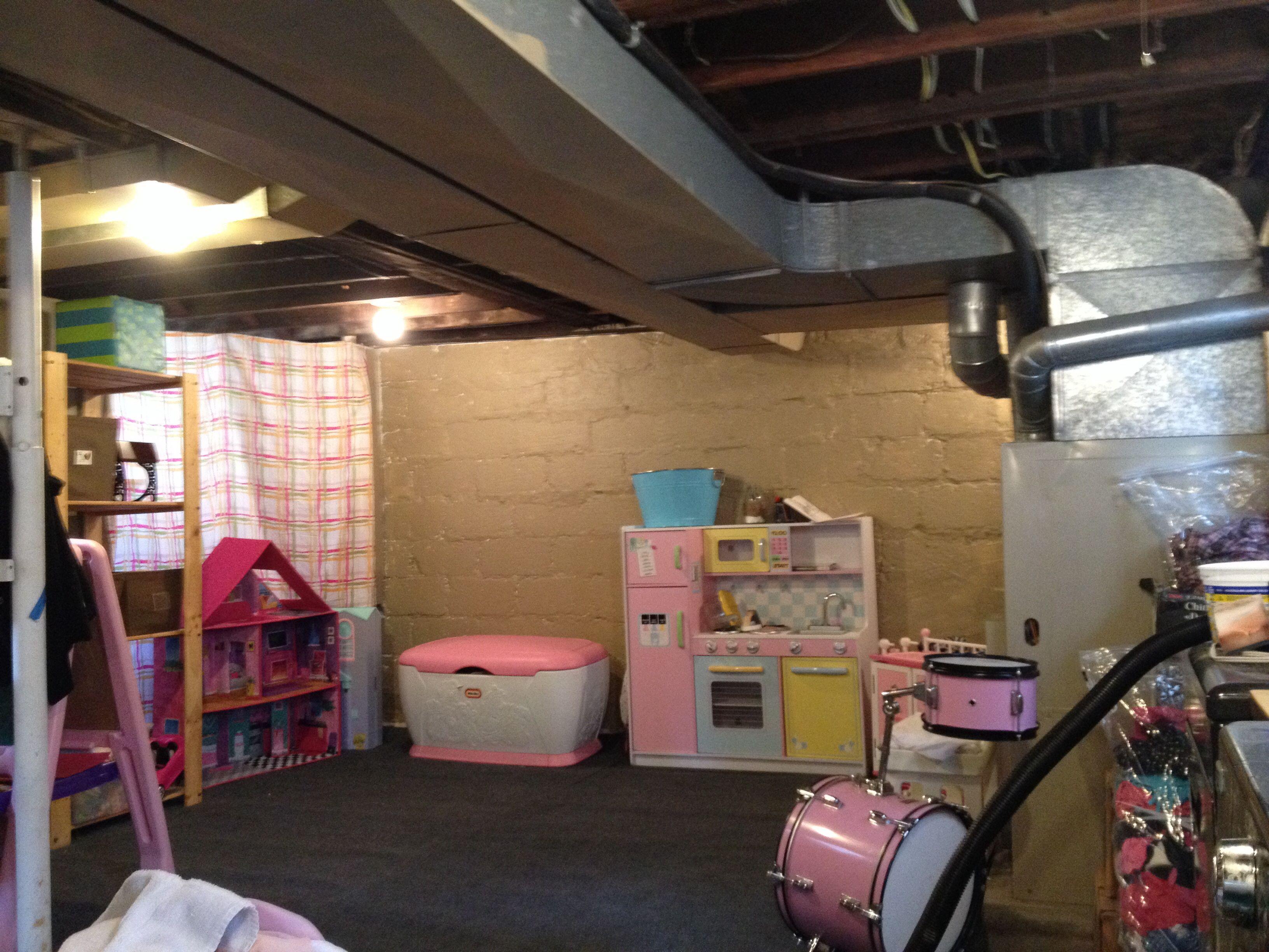 unfinished basement playroom remodel pinterest
