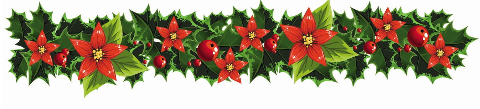 Holly and poinsettias border large | Clip Art Holiday Scrapbook, Card ...