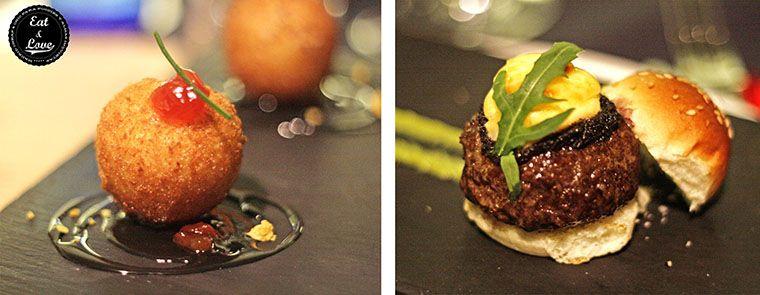 Croquetas de lomo, queso de cabra y miel y minihamburguesita con foie y trufa en Charlie Champagne restaurante neotaberna Madrid