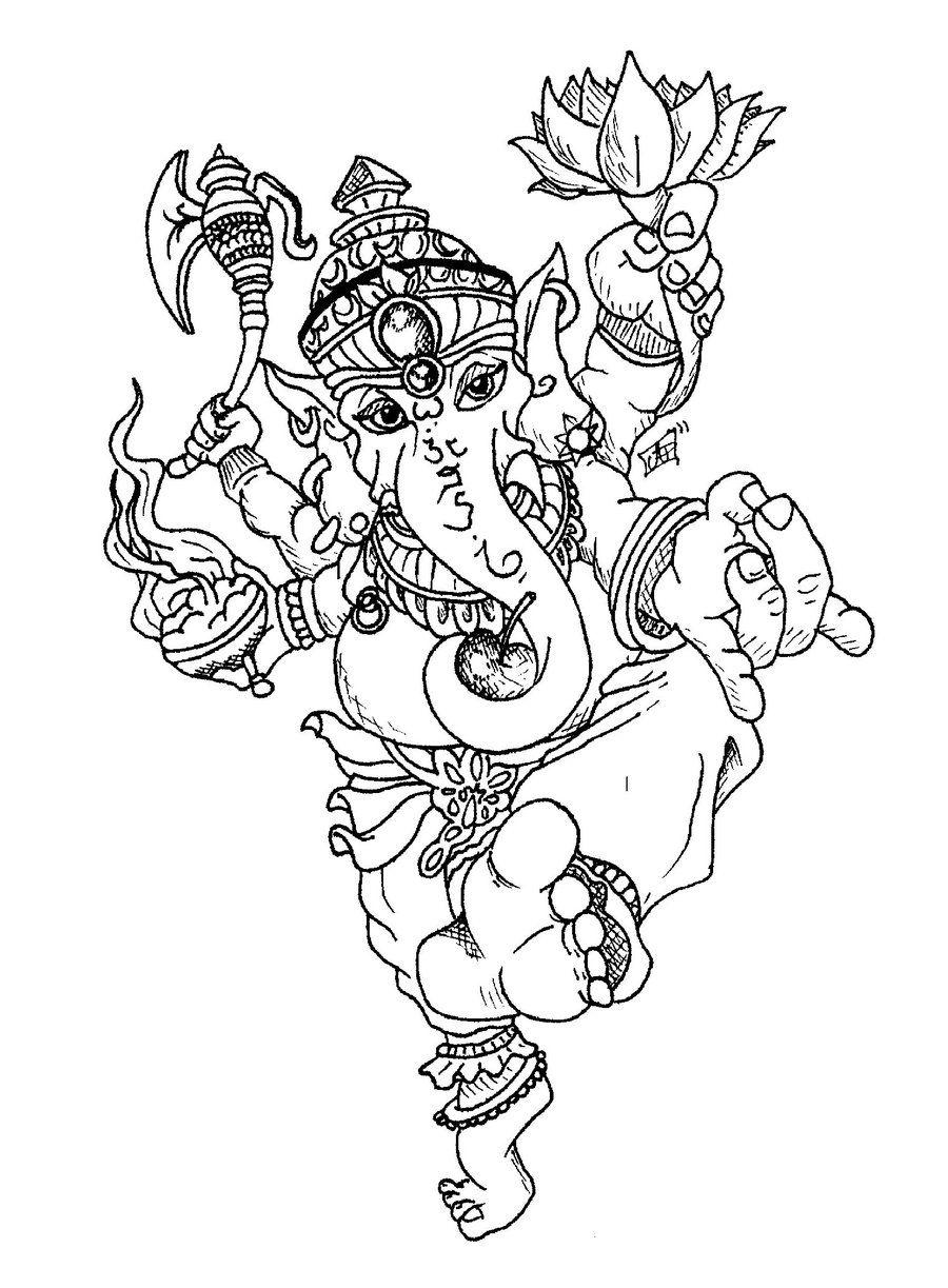 Ganesh Drawing Tattoo Dancing ganesh tattoos