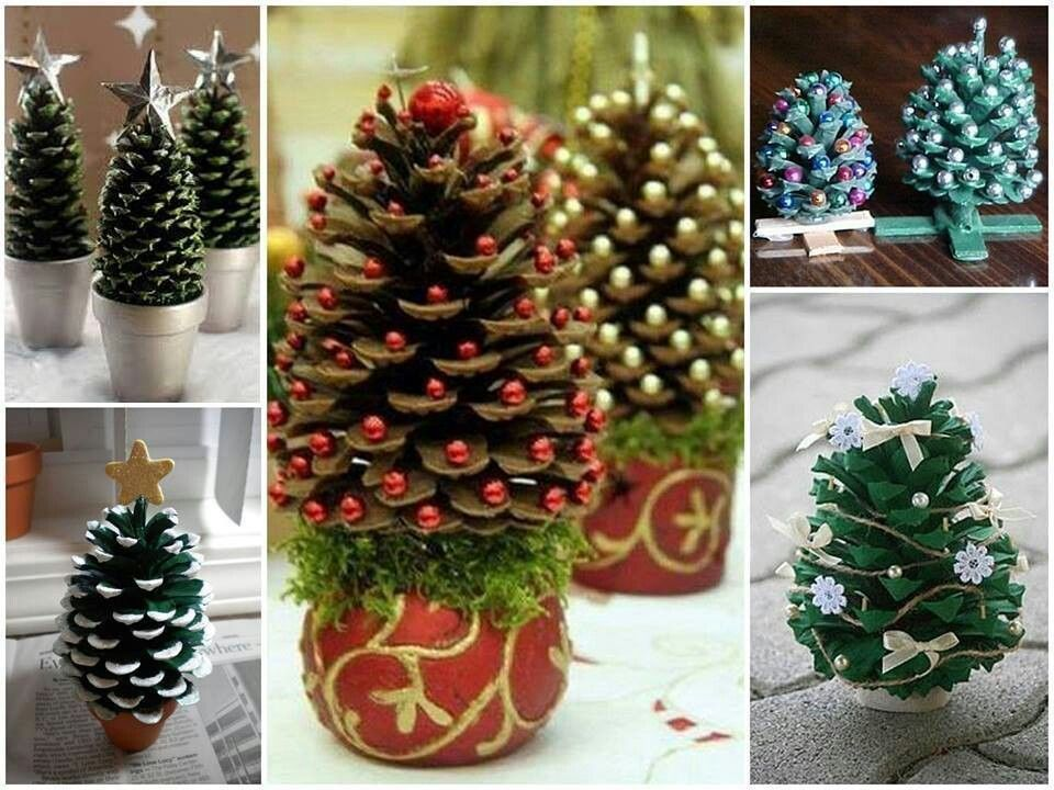 Pine cone crafts holiday sparkle pinterest for Pine cone christmas tree craft