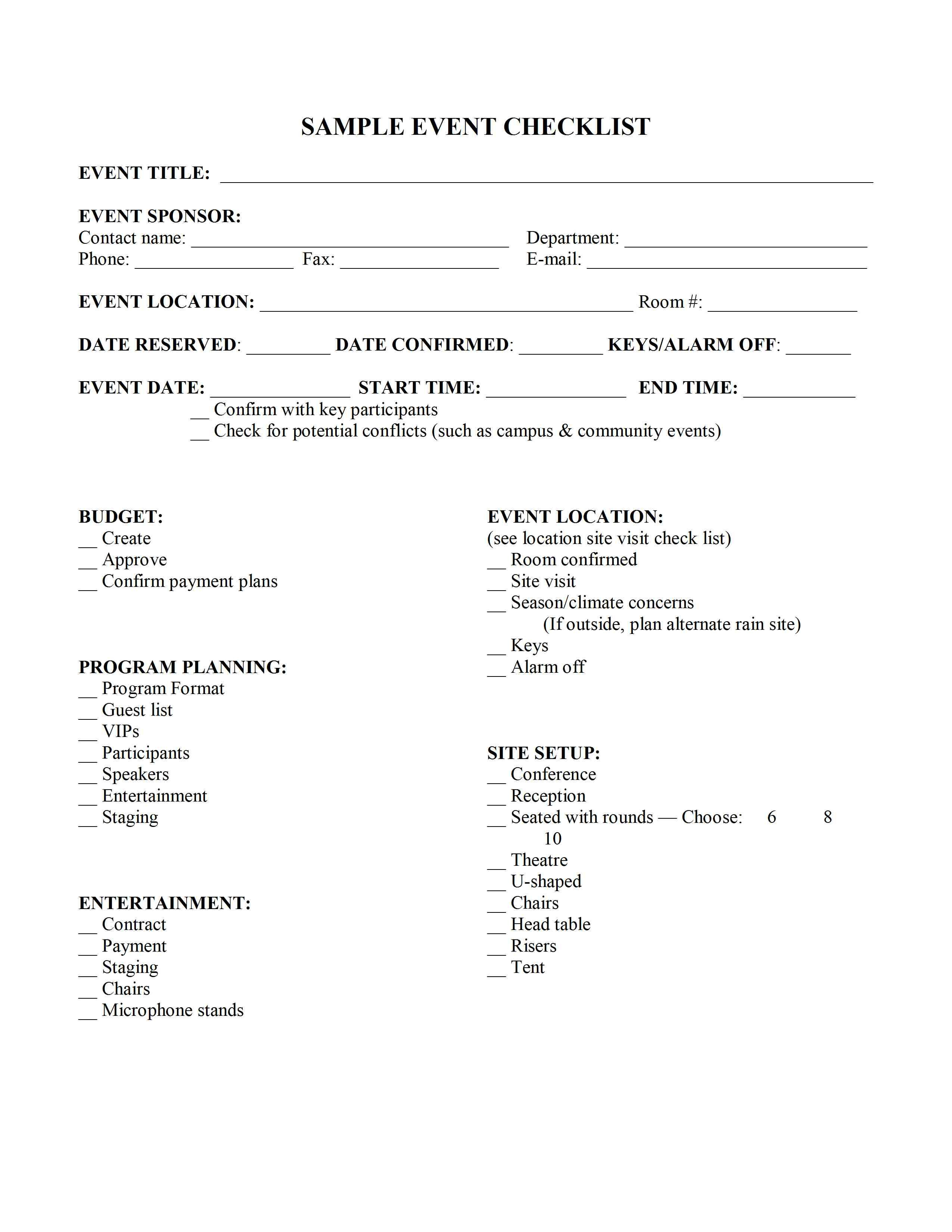 event planner planning template – Free Event Planner Contract Template