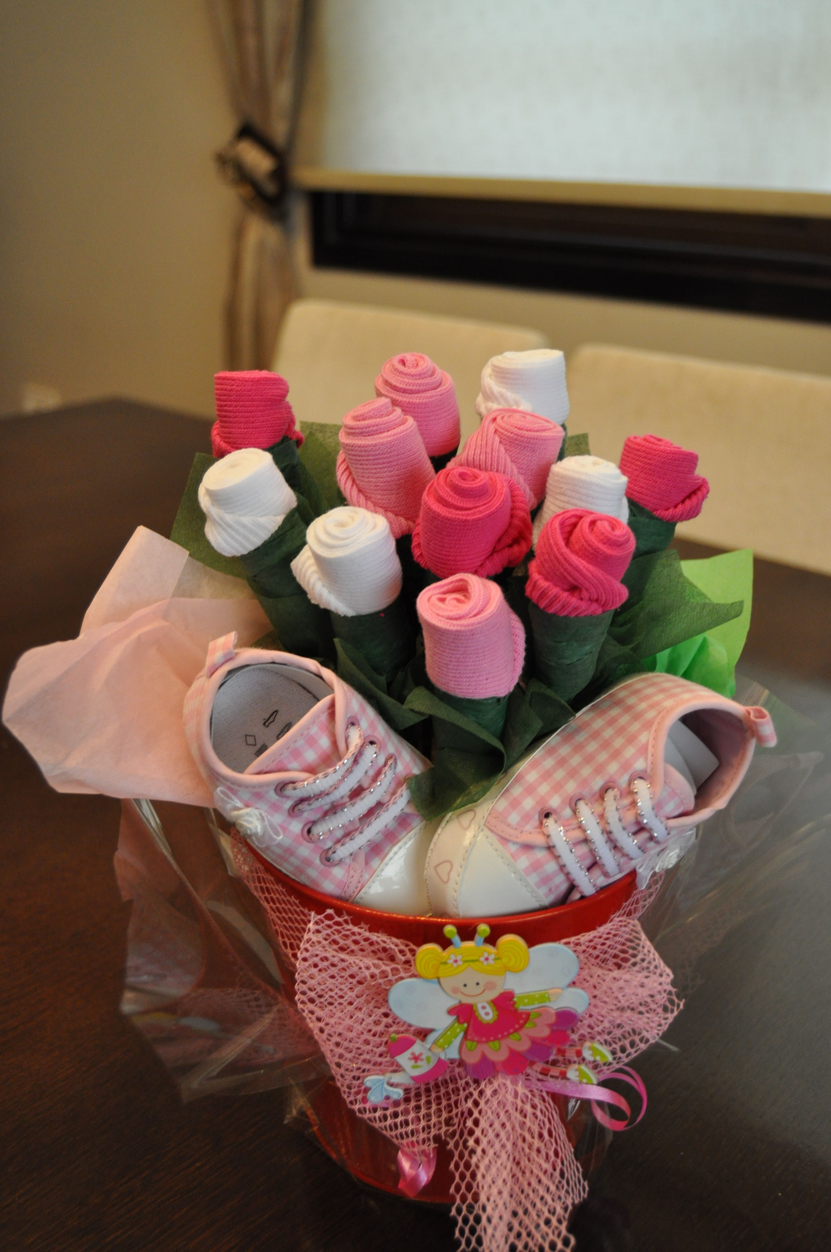 Baby Sock Rose Bouquet for a Baby Girl