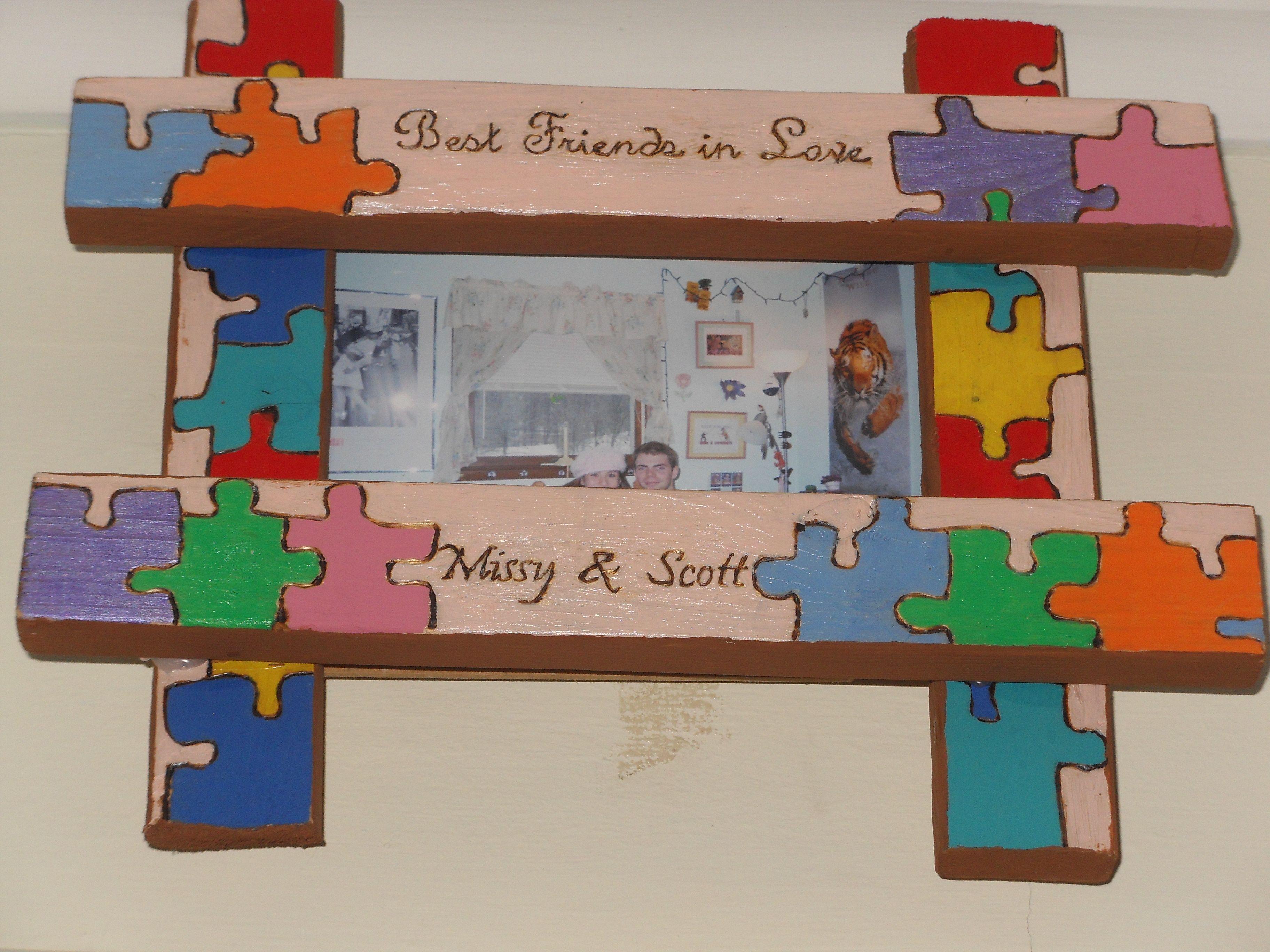puzzle picture frame crafts and diy pinterest. Black Bedroom Furniture Sets. Home Design Ideas