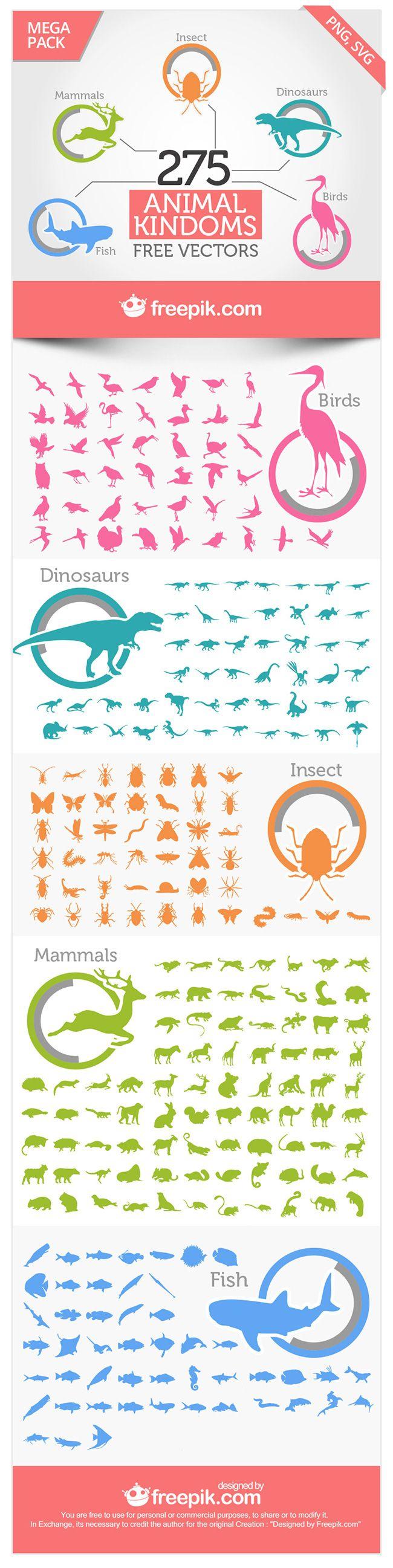 275 siluettes vettoriali di animali