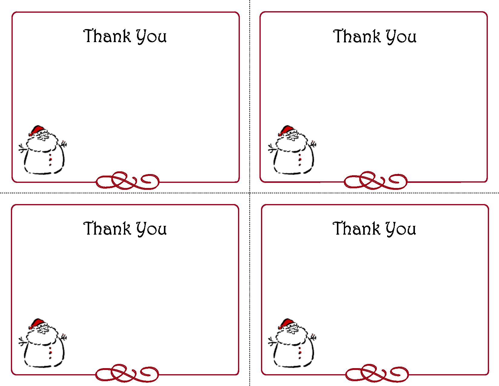 Printable Christmas Thank You Card Templates Thank You Cards Pinterest Card Templates