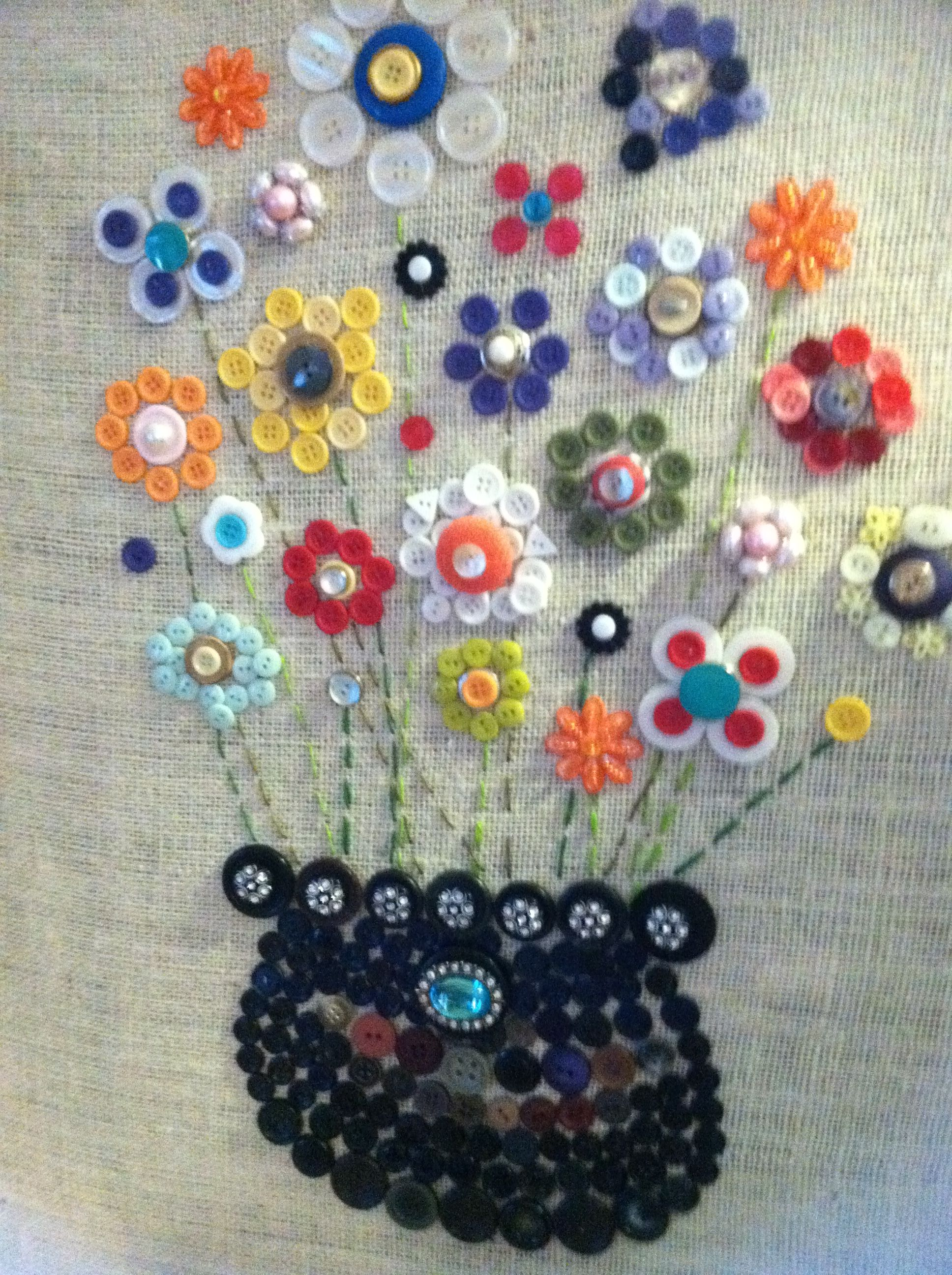 Button art on burlap covered canvas i love button for Button crafts for adults