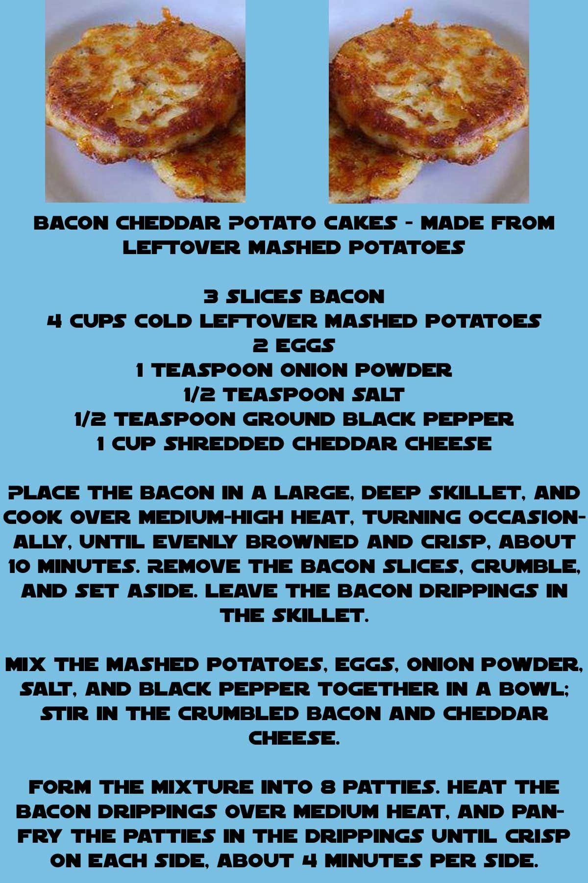 Bacon and Cheddar Potato Cakes | #favorite #recipes #delicious! | Pin ...