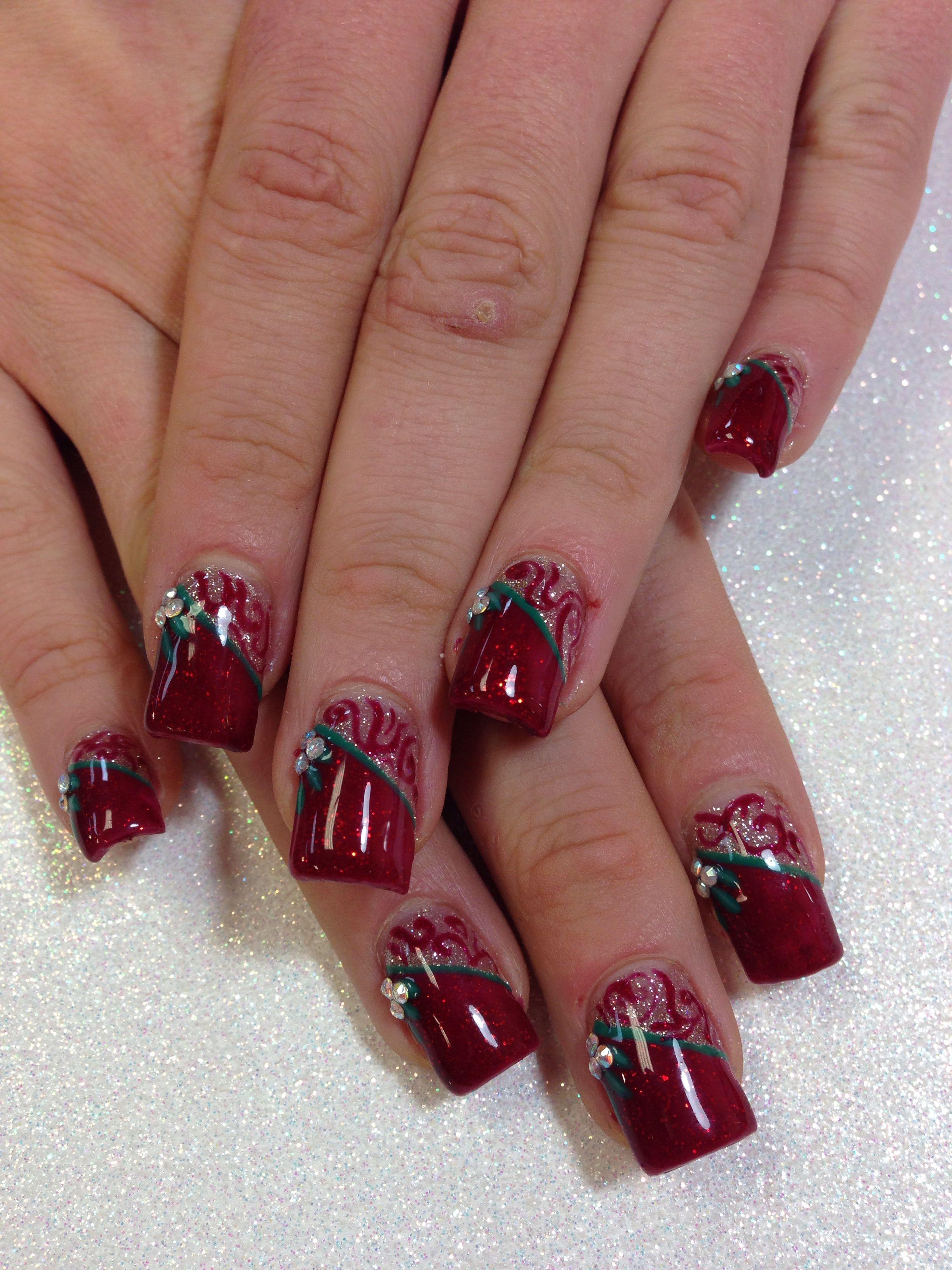 Holiday gel manicure! | Twist on regular French manicure | Pinterest