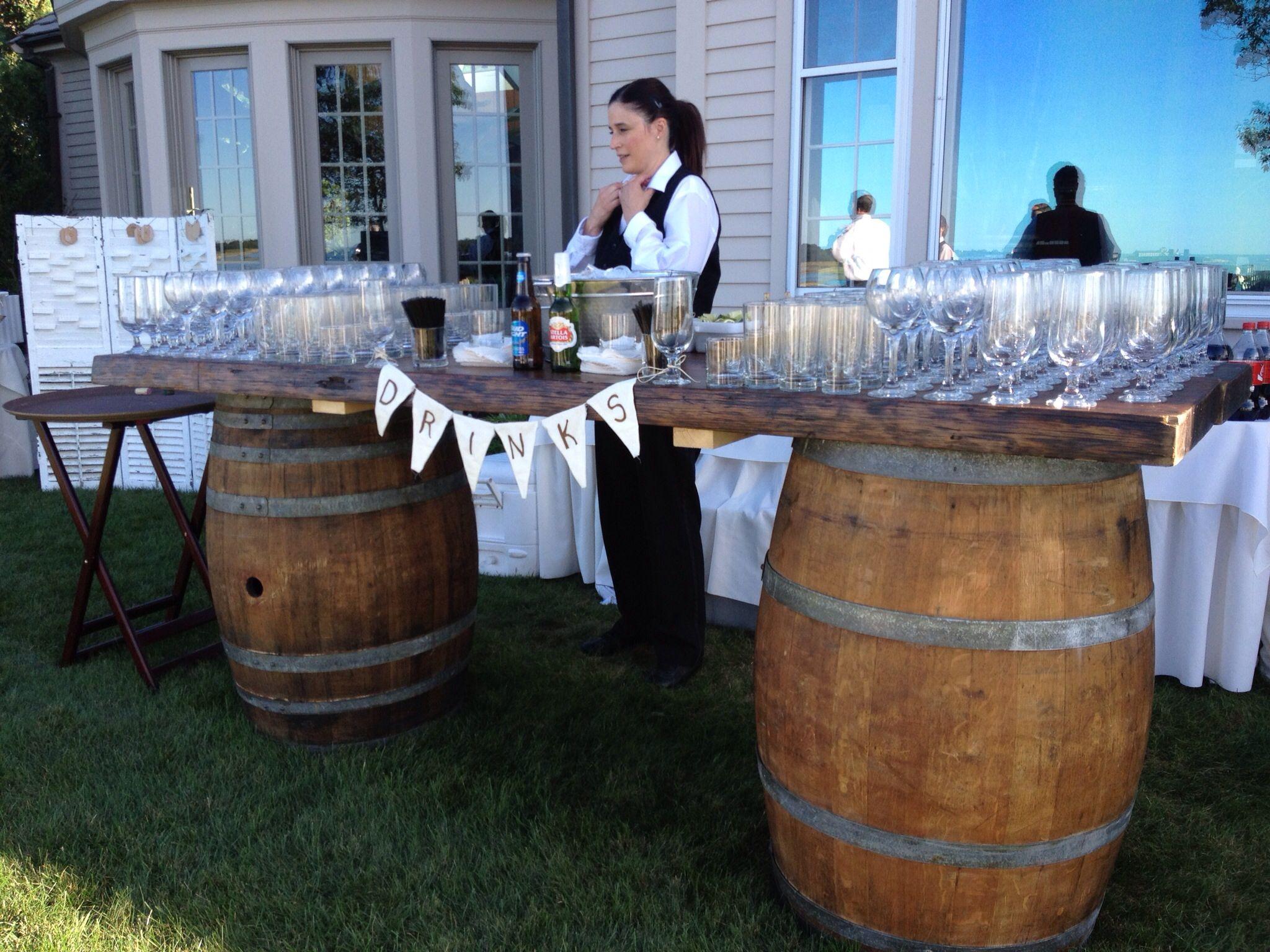 Wine barrel bar like it pinterest for How to make a wine barrel bar