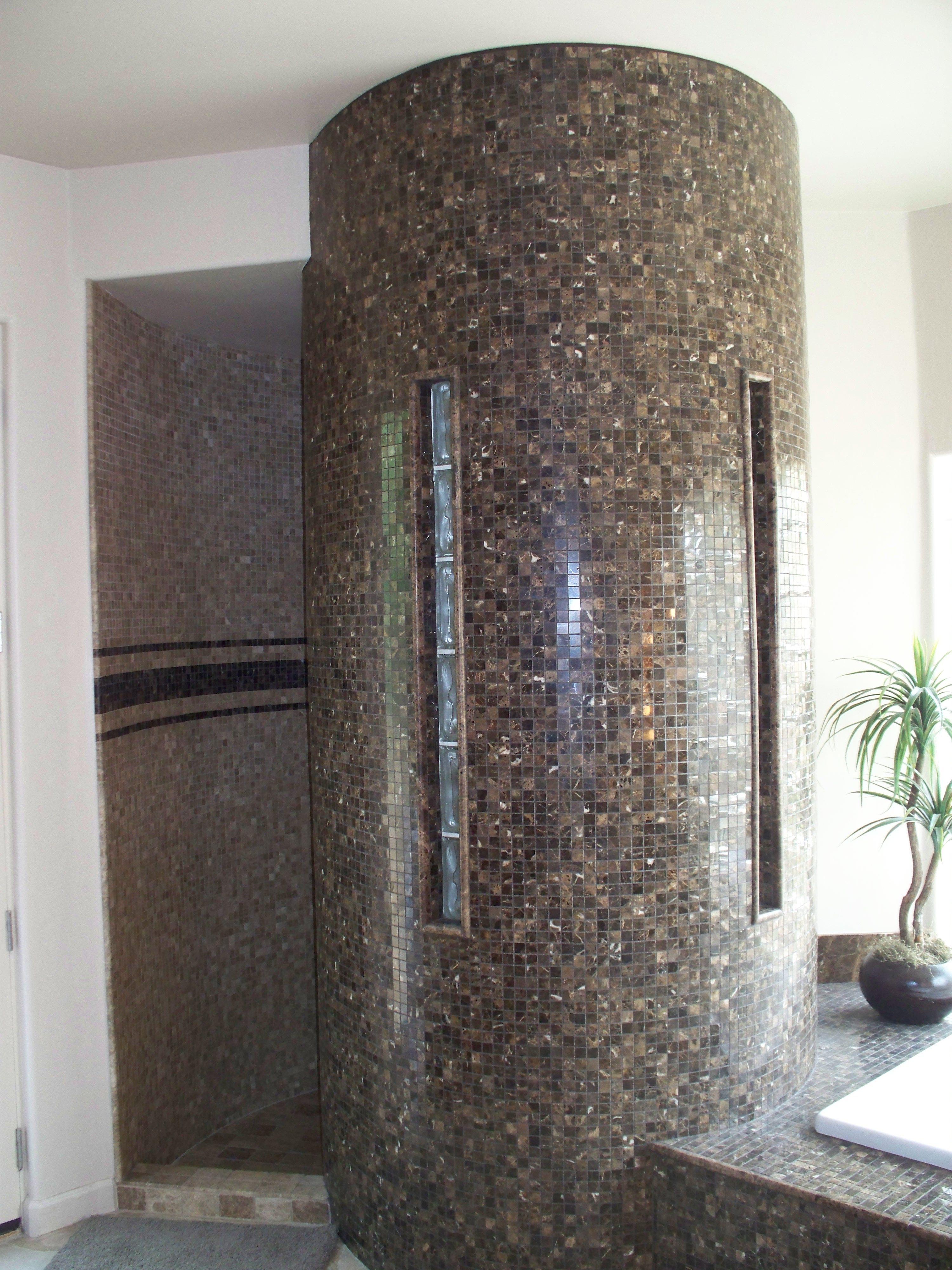 Tile And Glass Block Snail Shower Bathroom Design Ideas