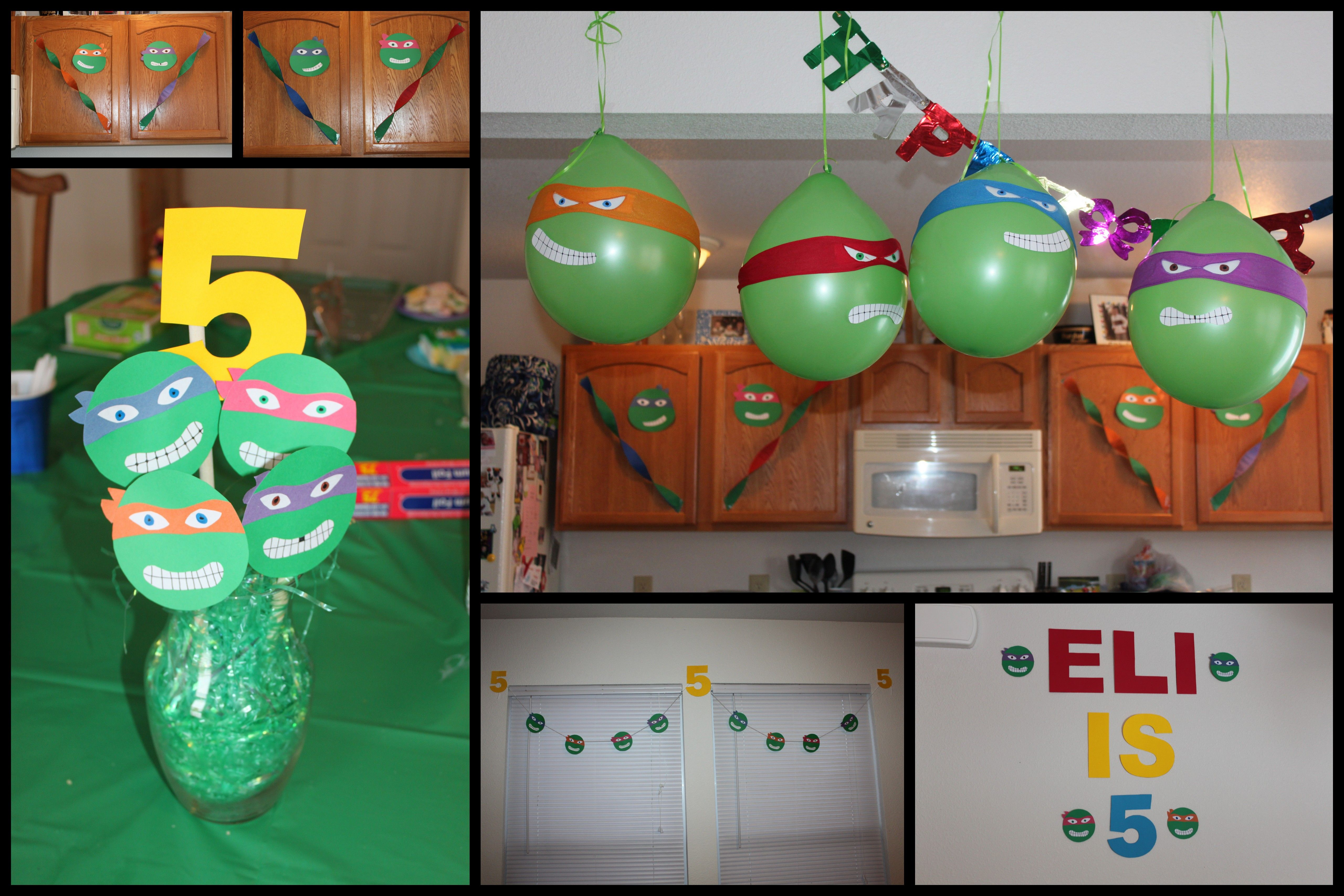 Easy diy ninja turtle balloons and birthday parties on for Tmnt decorations