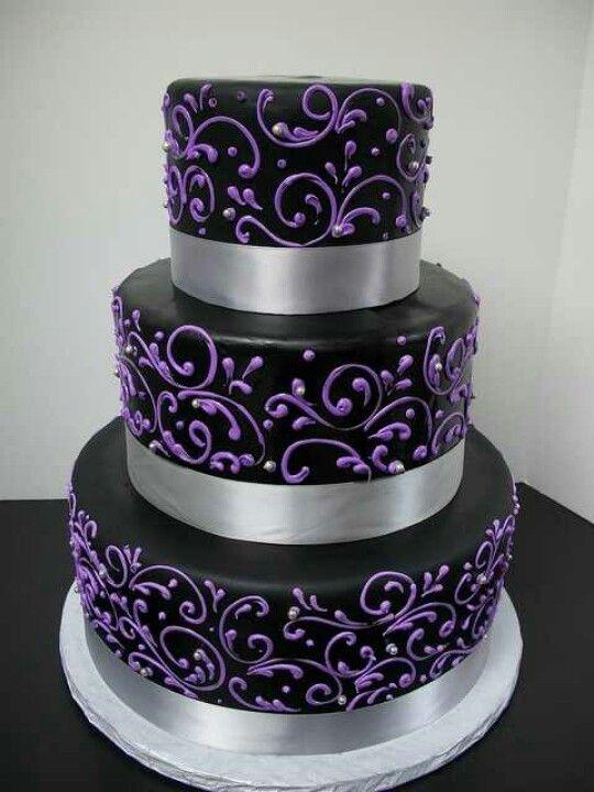 Purple Black And Silver Cake