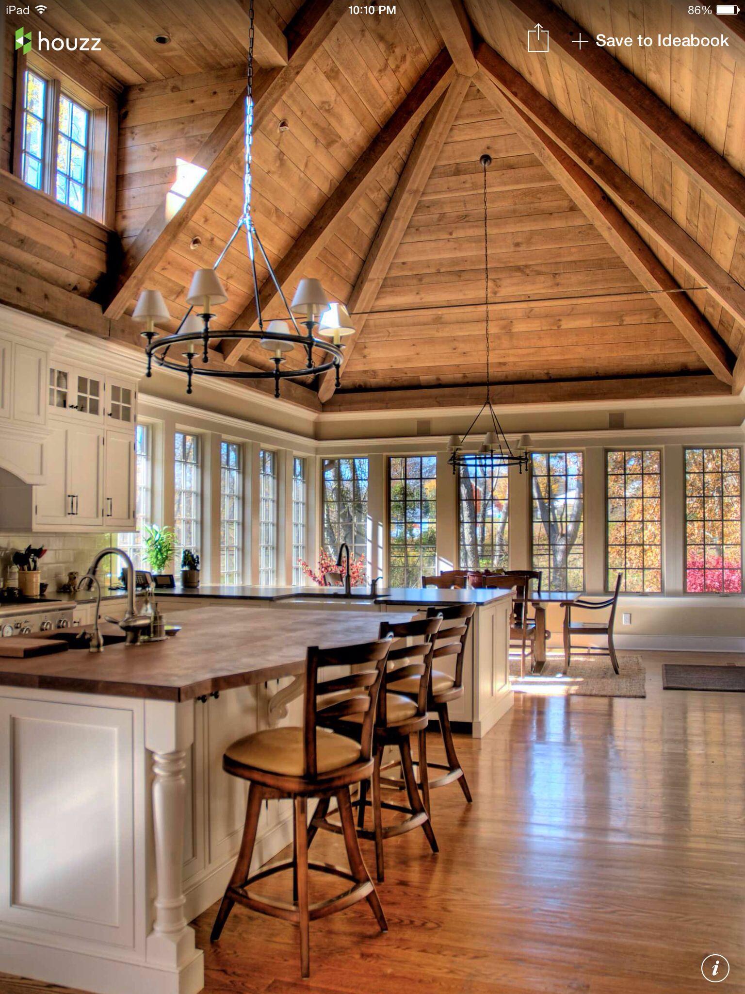 Wood ceiling wood floor ceiling pinterest for Hardwood floors with wood ceilings