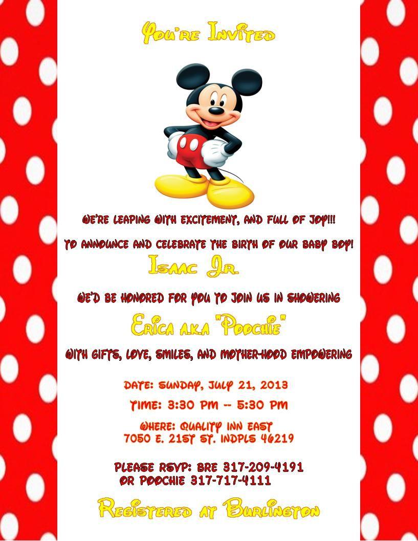 mickey mouse baby shower invitations disney baby ideas pinterest