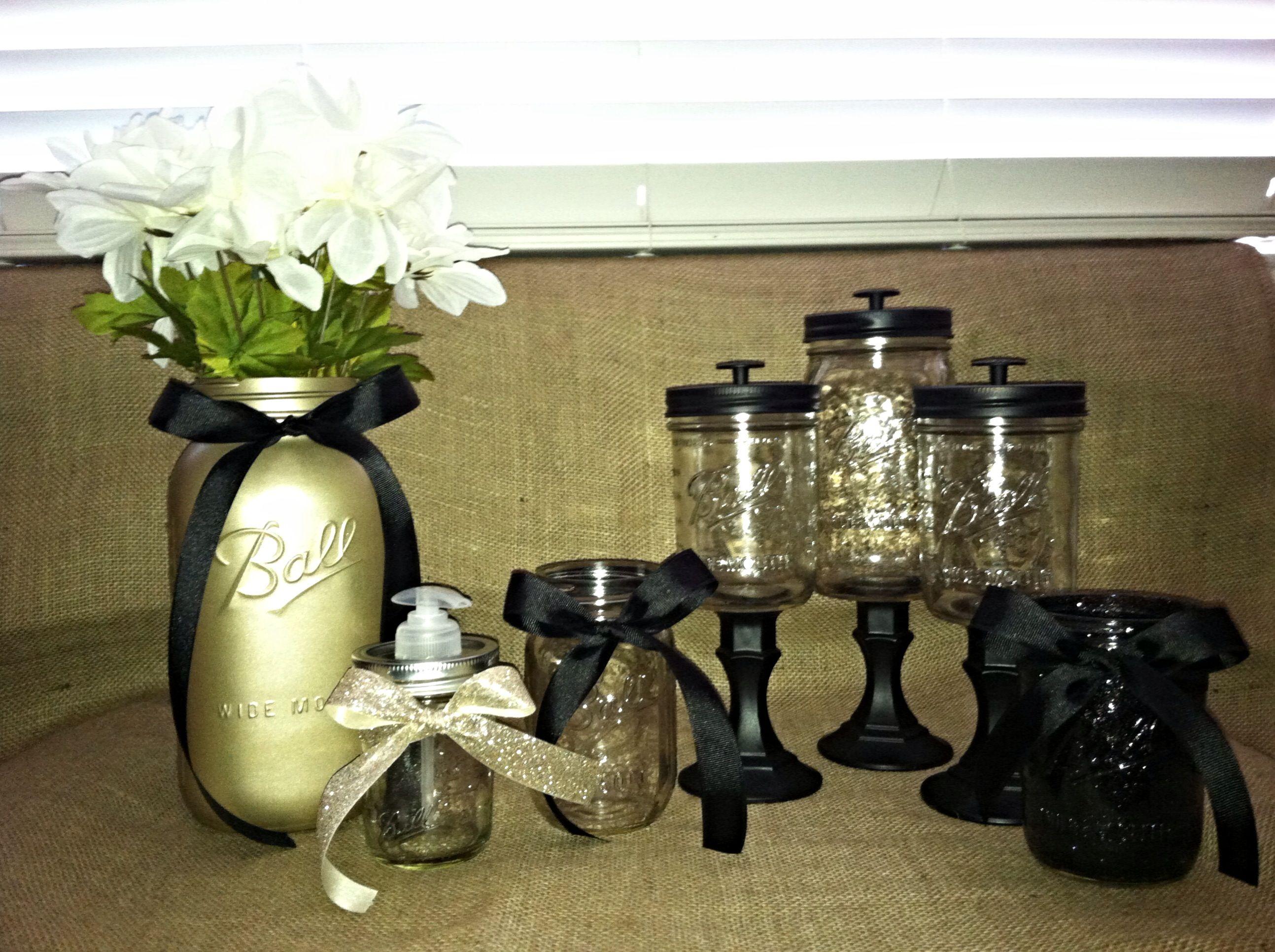 mason jar bathroom set for the home pinterest. Black Bedroom Furniture Sets. Home Design Ideas