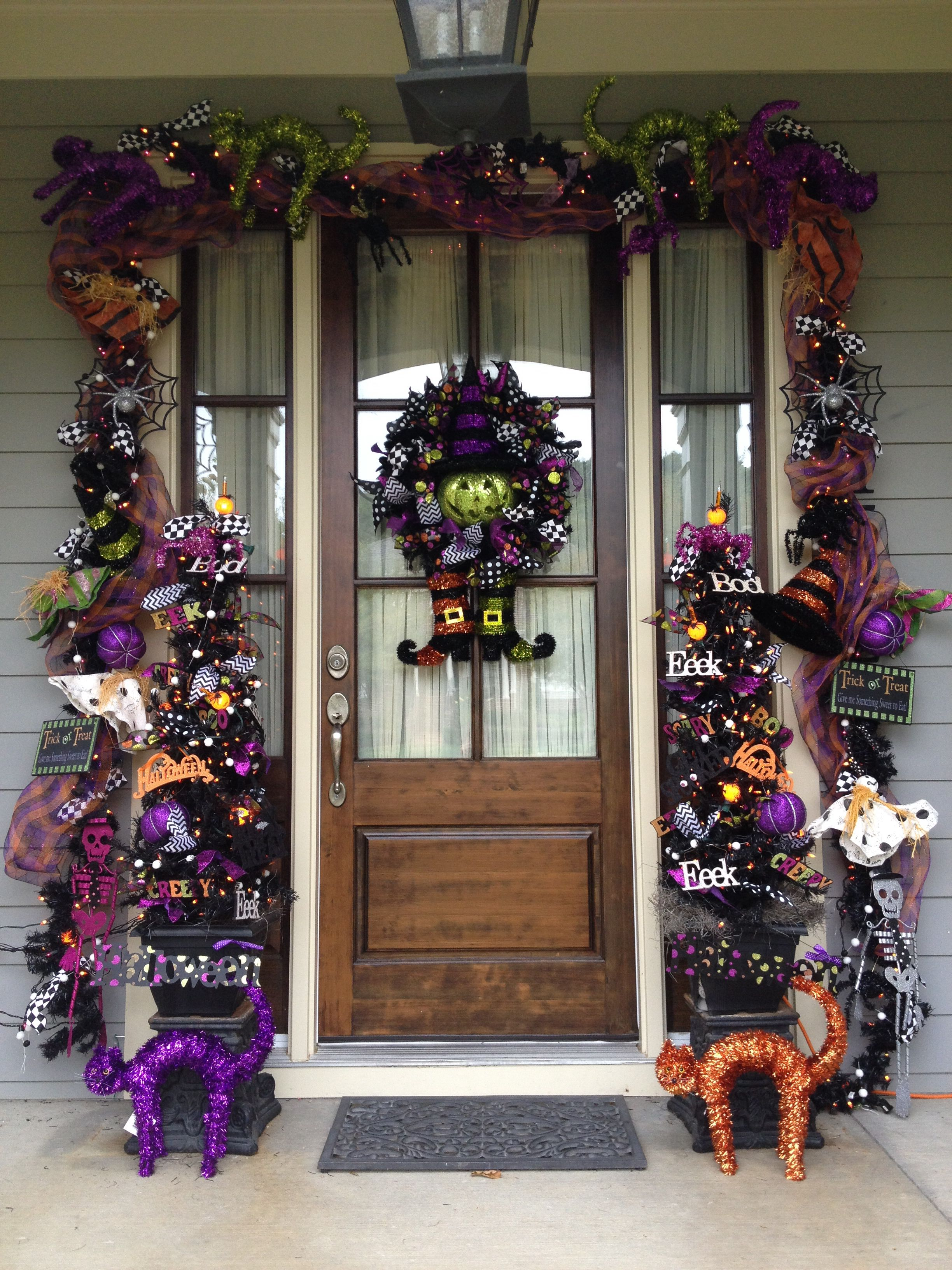 Double front door christmas decorations - It Didn T Take Much To Jazz Up This Gorgeous Custom Wrought Iron Double Entry Door For The Holiday