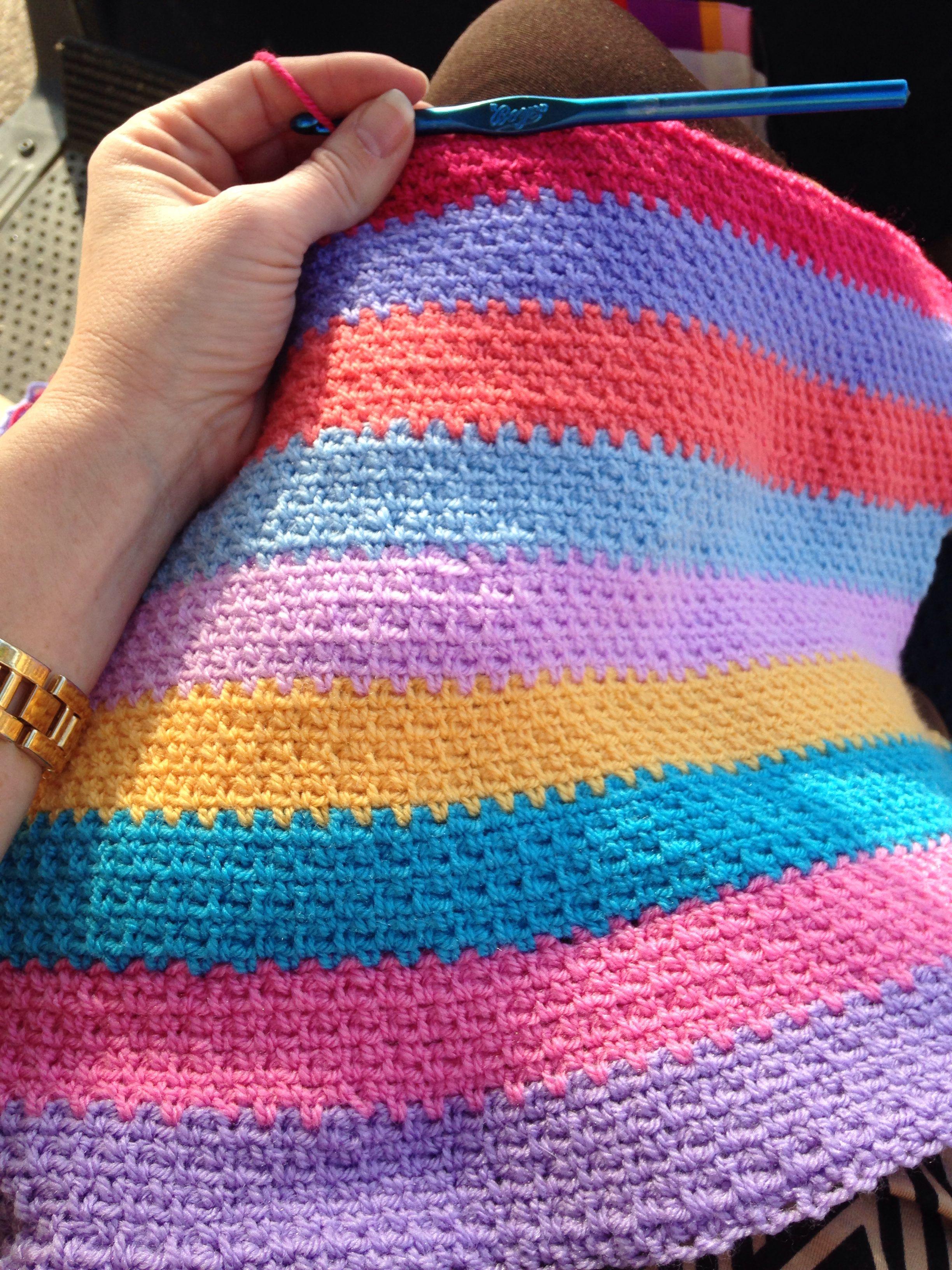 Linen stitch. Crochet. WIP Ulinen Pinterest